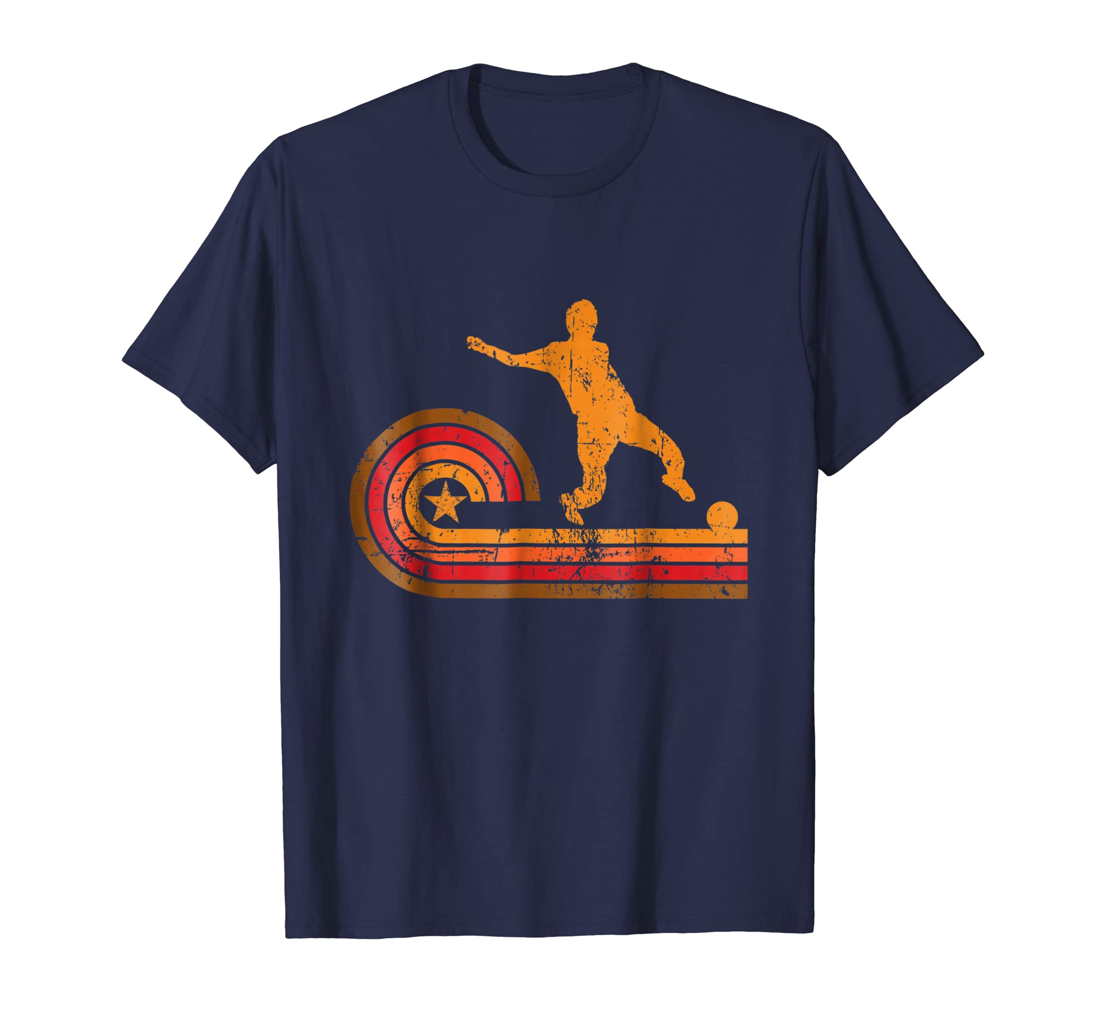 1970's Retro Style Soccer Player Silhouette Sports T Shirt-azvn