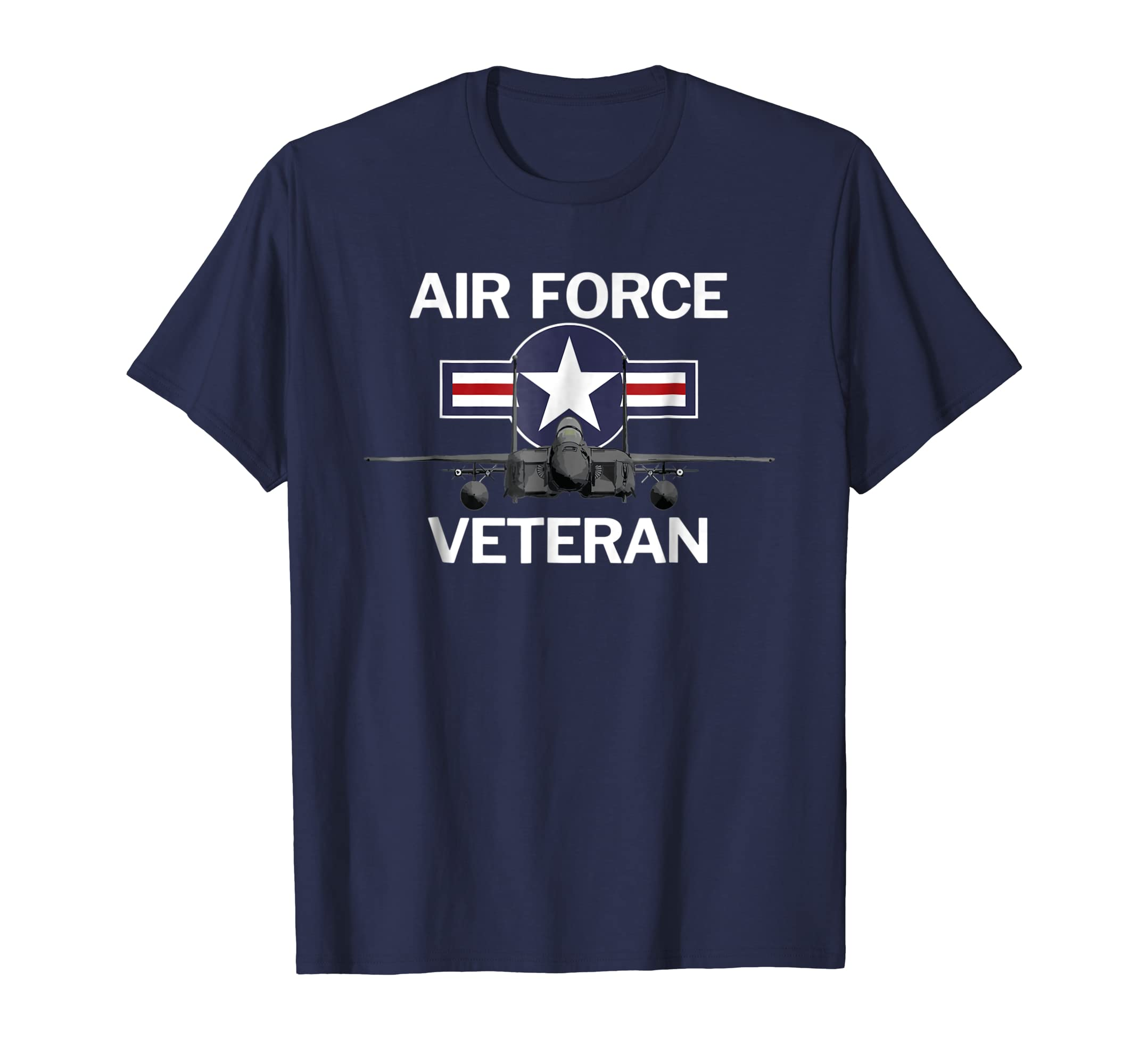 Air Force Veteran T Shirt with Vintage Roundel and F15 Jet-azvn