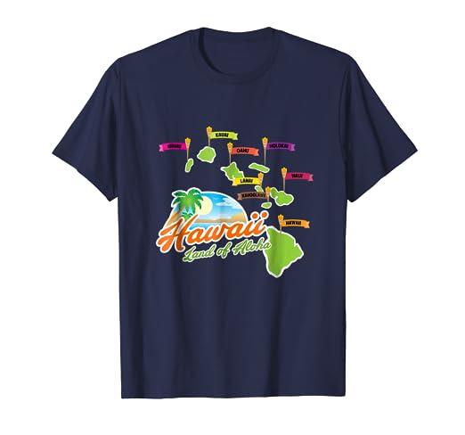 cbbc71dc0 Amazon.com: Hawaiian Islands T-Shirt - Hawaii Land of Aloha Graphic ...