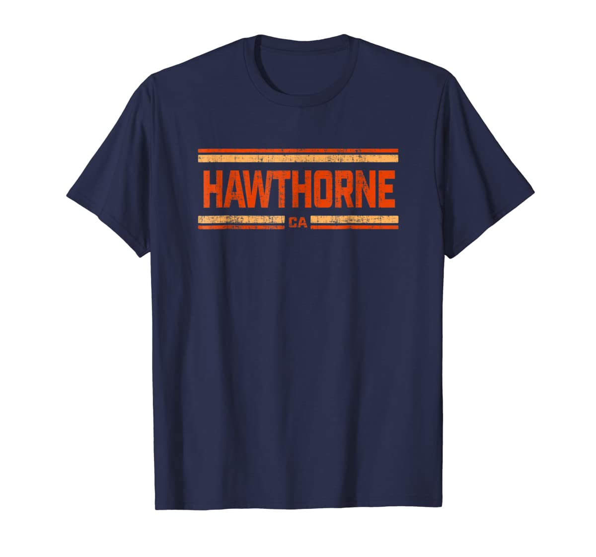 Retro Vintage Hawthorne CA Distressed T-Shirt-Men's T-Shirt-Navy