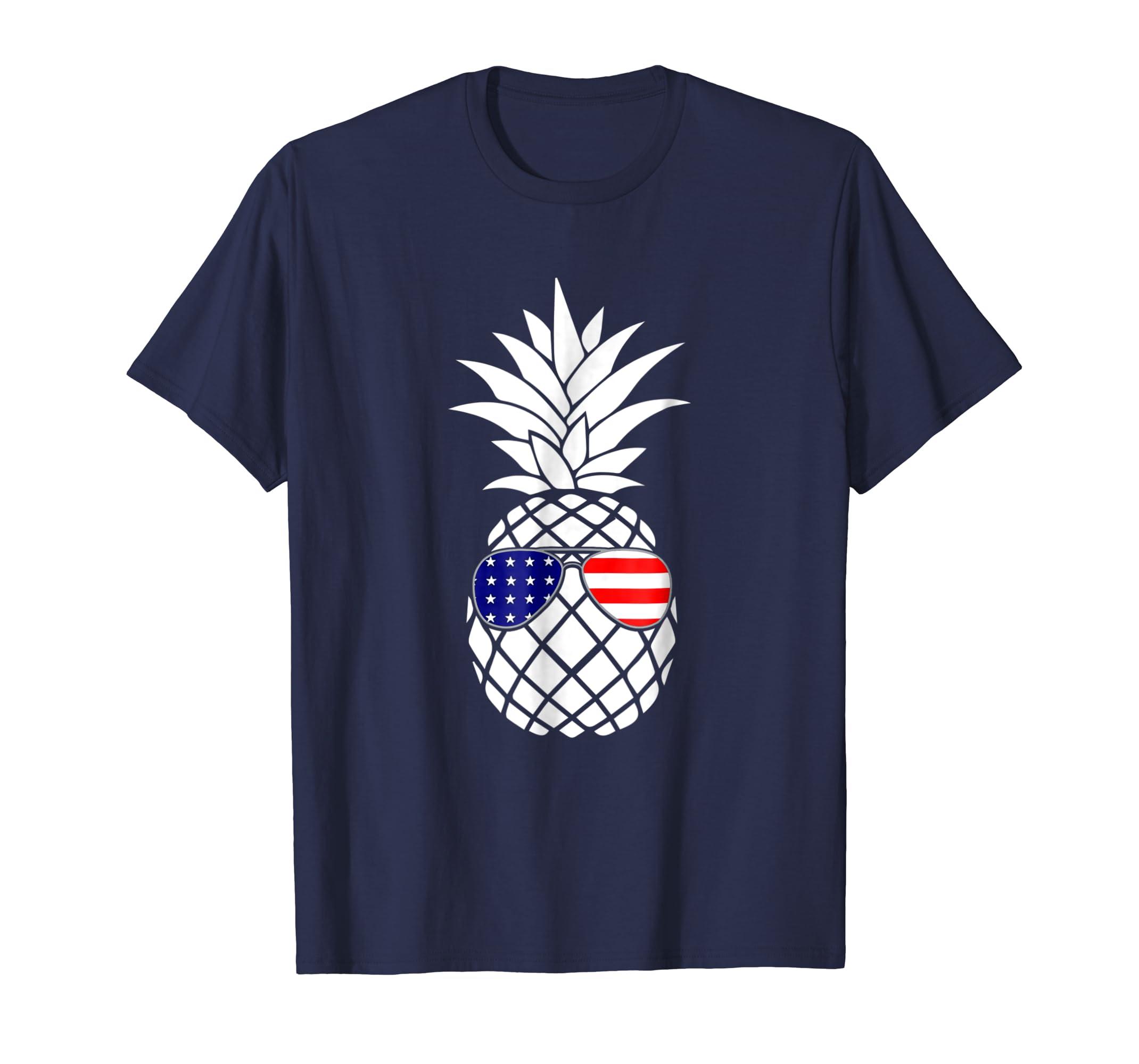 Patriotic Pineapple T-Shirt 4th July Glasses American Flag