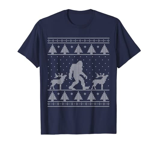 7bb5c97f90923 Image Unavailable. Image not available for. Color  Bigfoot Ugly Christmas  Sweater T-Shirt ...