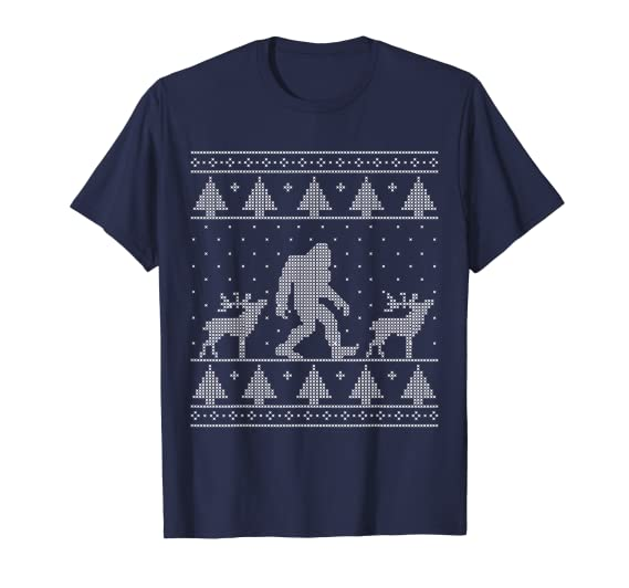 891b128c5f1c6 Amazon.com  Bigfoot Ugly Christmas Sweater T-Shirt