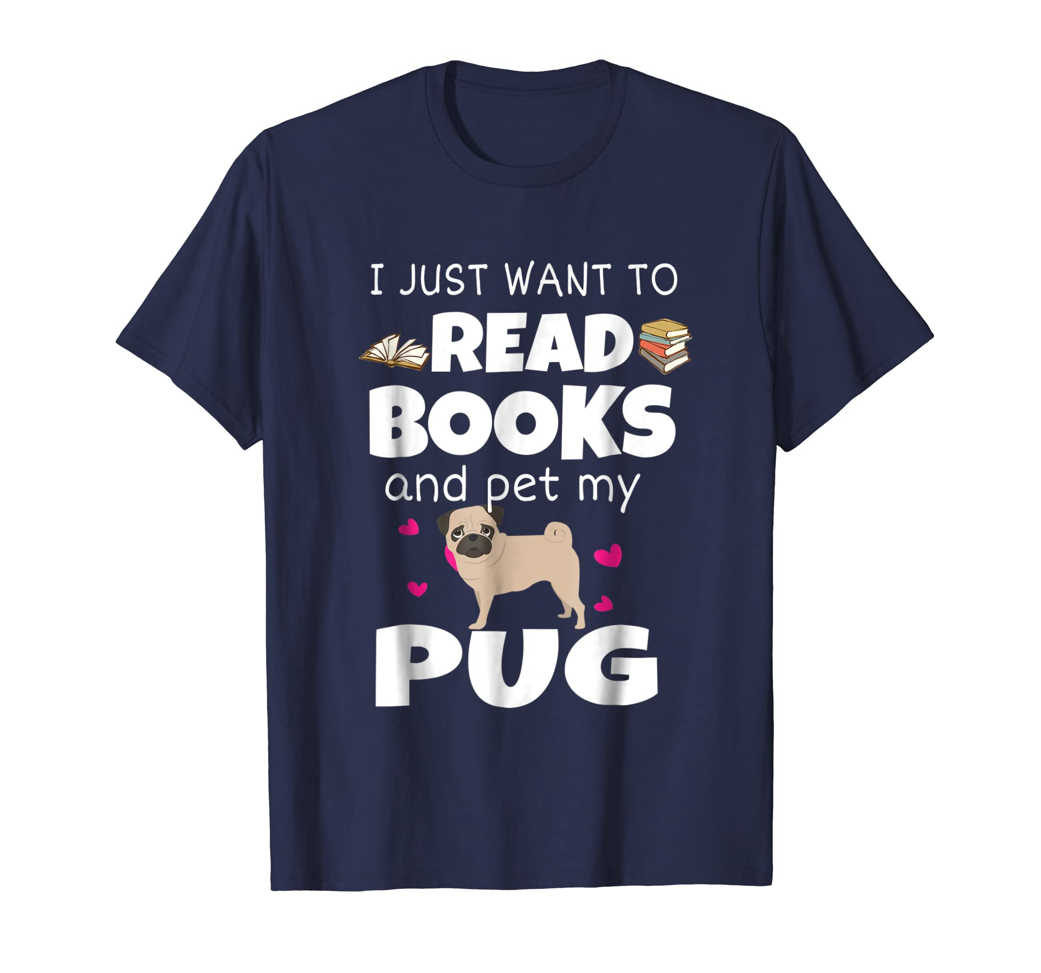 Loves Pug And Read Books Funny T shirt For Dogs Lover-AZP