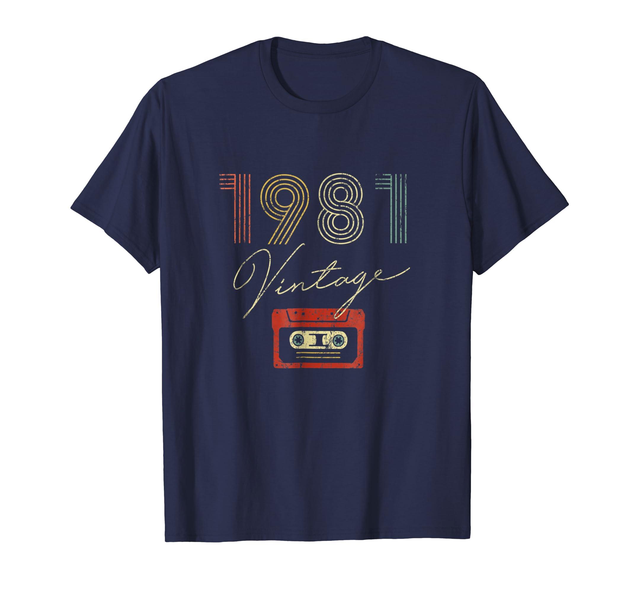 37th Birthday Gift Vintage 1981 Year Old Mixtape T-Shirt-AZP