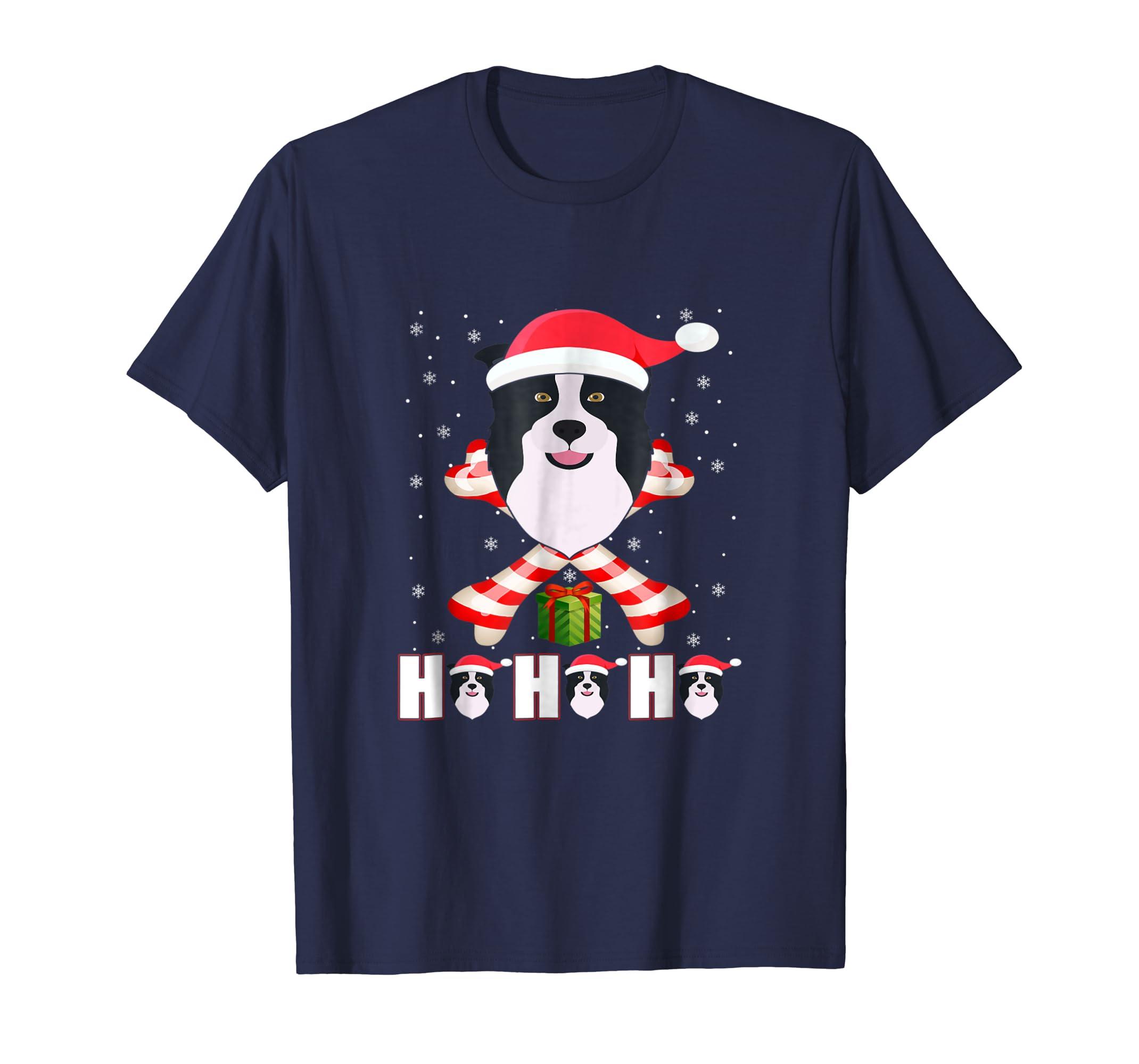 Ho Ho Ho Border Collie Santa Claus T Shirt Christmas-azvn
