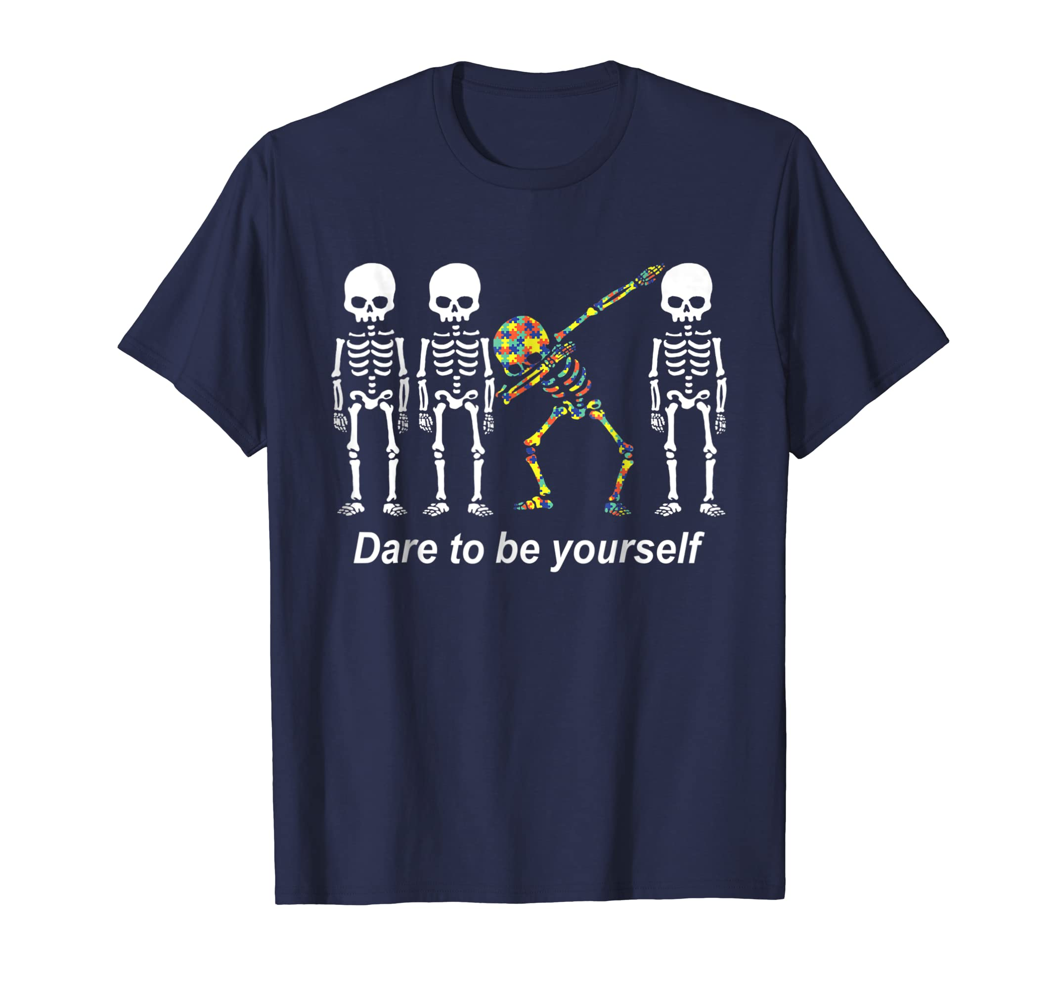 (AB) Dare To Be Yourself Dabbing Skeleton Short Sleeve Tshir-azvn