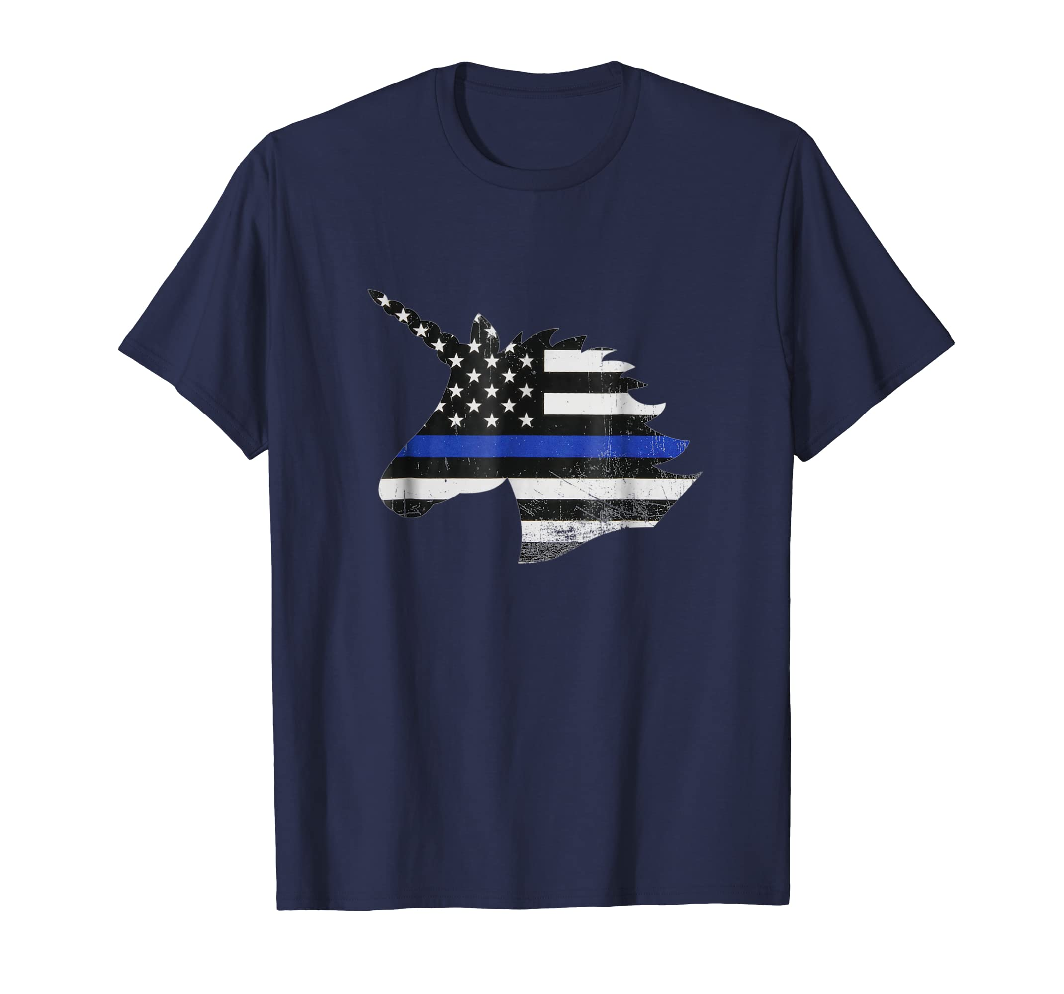 UNICORN THIN BLUE LINE FLAG SHIRT-alottee gift