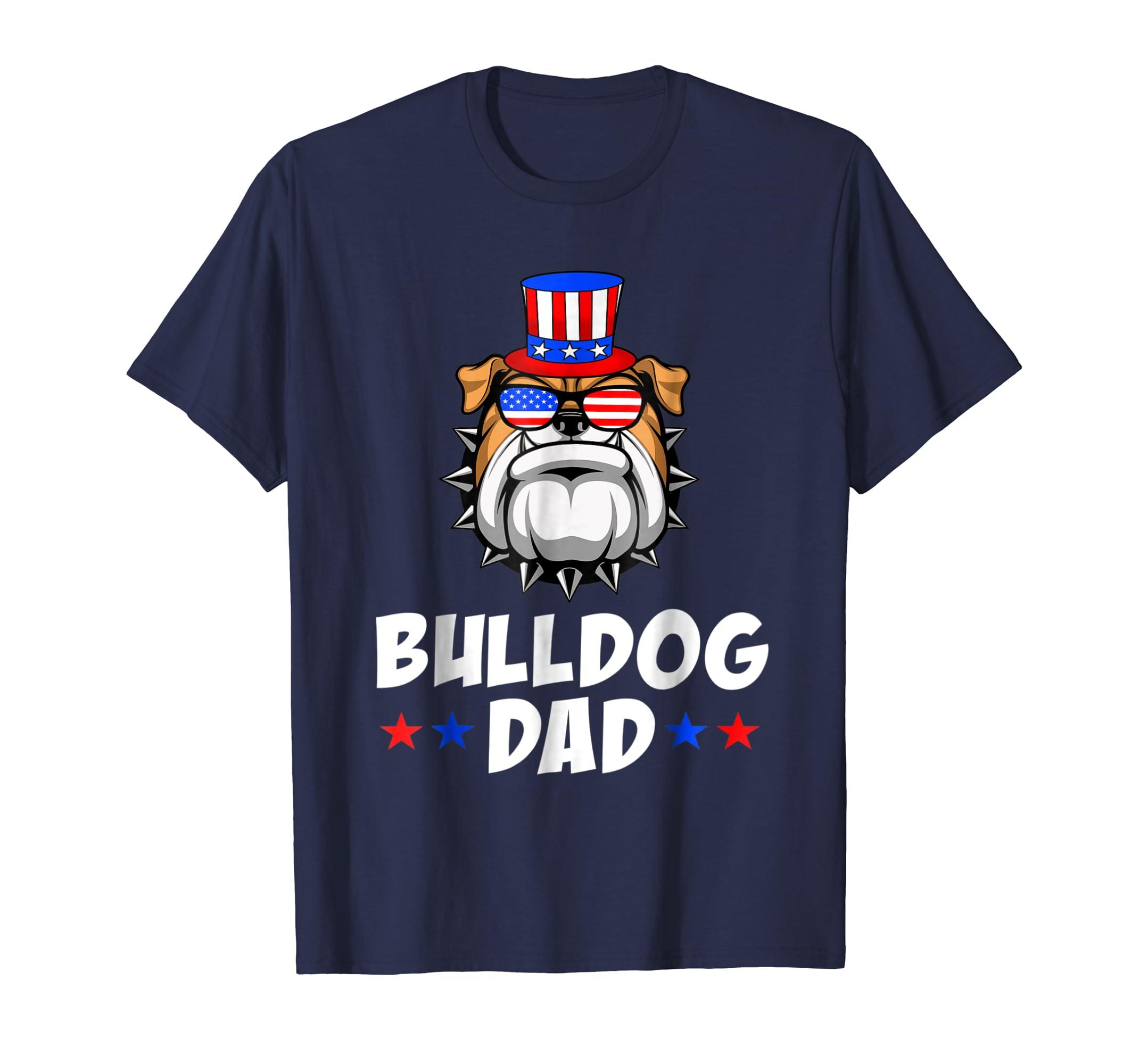 Cute Bulldog Dad USA Flag Sunglasses 4th of July T-Shirt