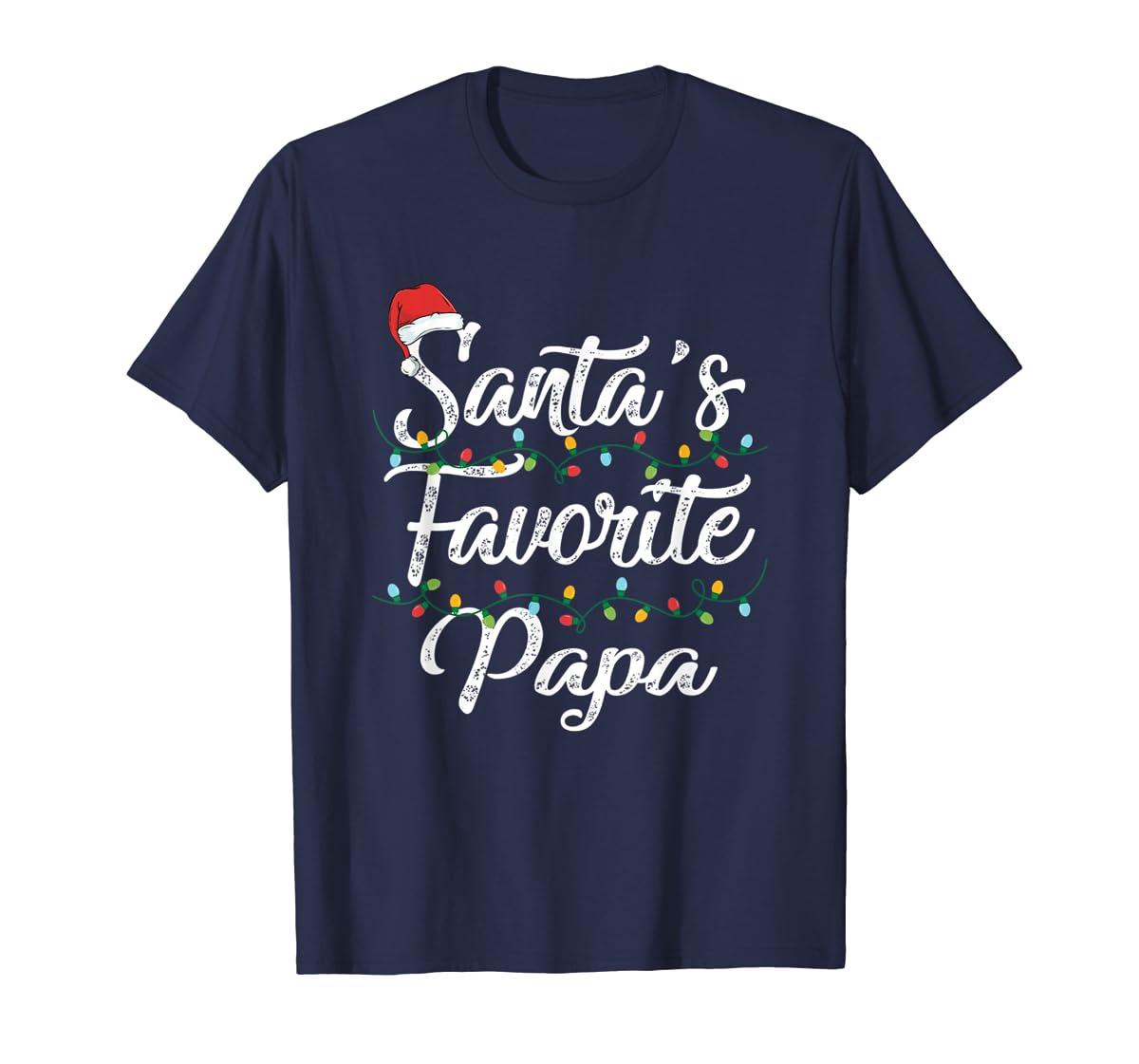 Santa's Favorite Papa Christmas Santa Hat Light T-Shirt-Men's T-Shirt-Navy