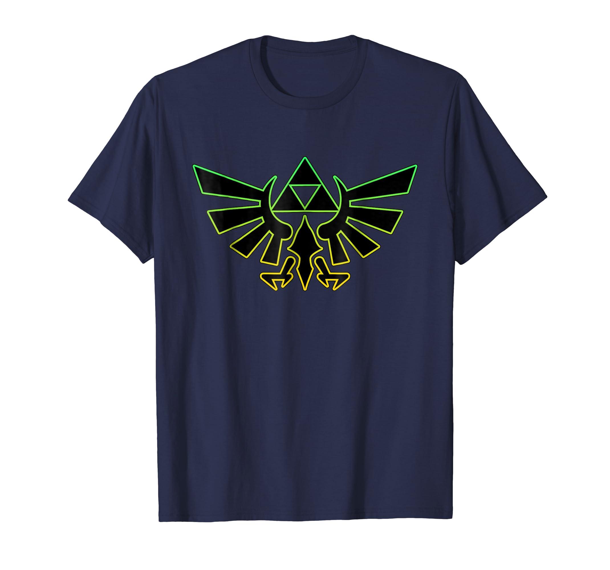 cbd38d17b Amazon.com: Nintendo Zelda Hyrule Crest Triforce Neon Outline T-Shirt:  Clothing