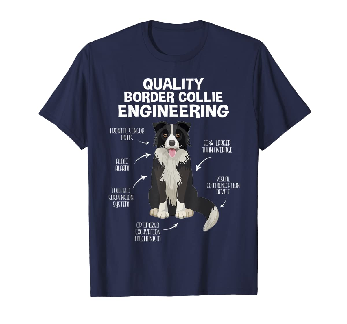 Quality Border Collie Engineering Dog Lover Gift T-Shirt-Men's T-Shirt-Navy
