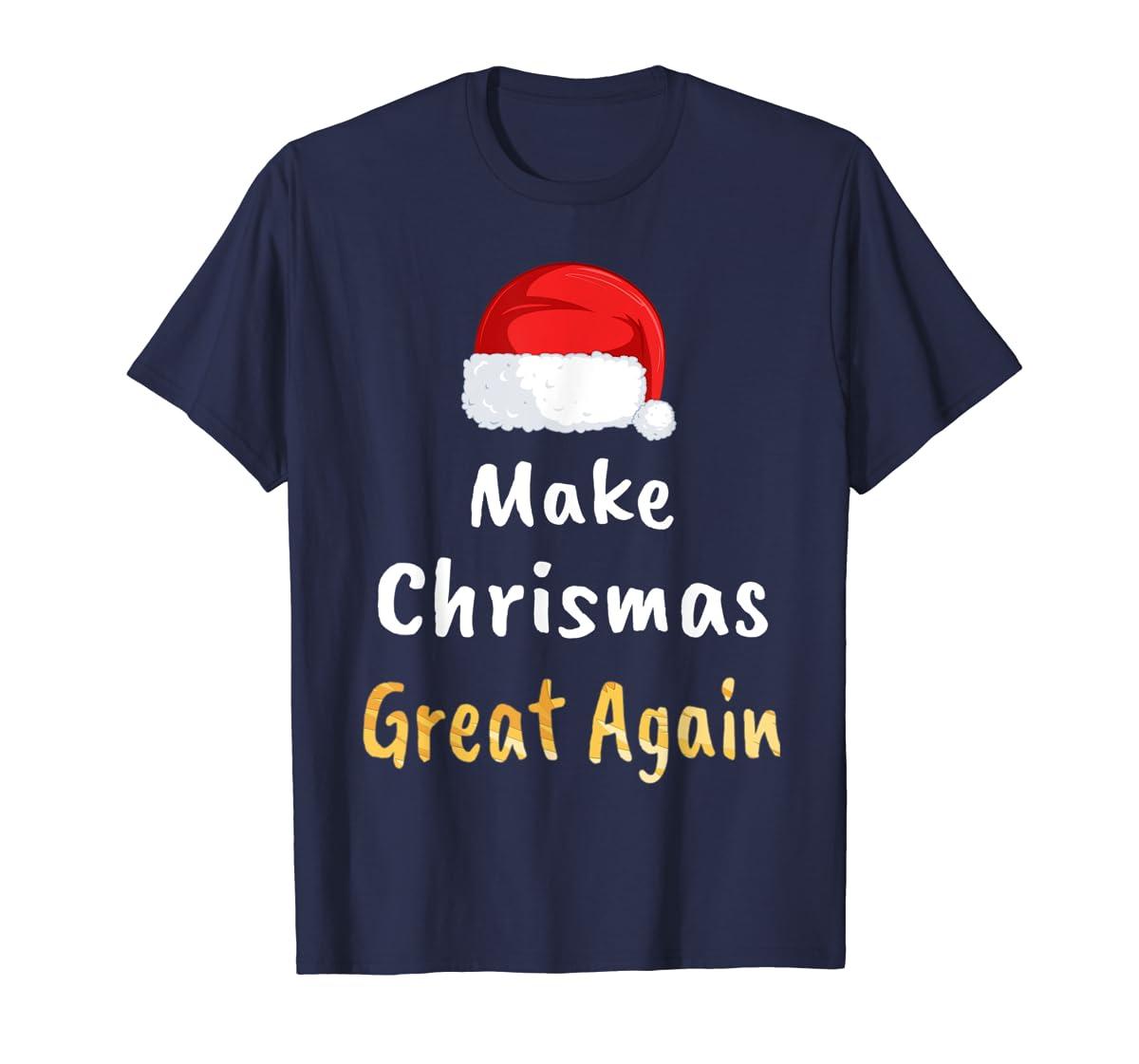 Awesome Make Christmas Great Again Trump Hat Xmas Gift T-Shirt-Men's T-Shirt-Navy