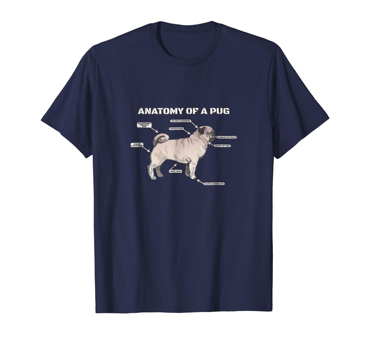 Cute Pug Anatomy T-Shirt - Funny Dog Puppy Tee-Men's T-Shirt-Navy