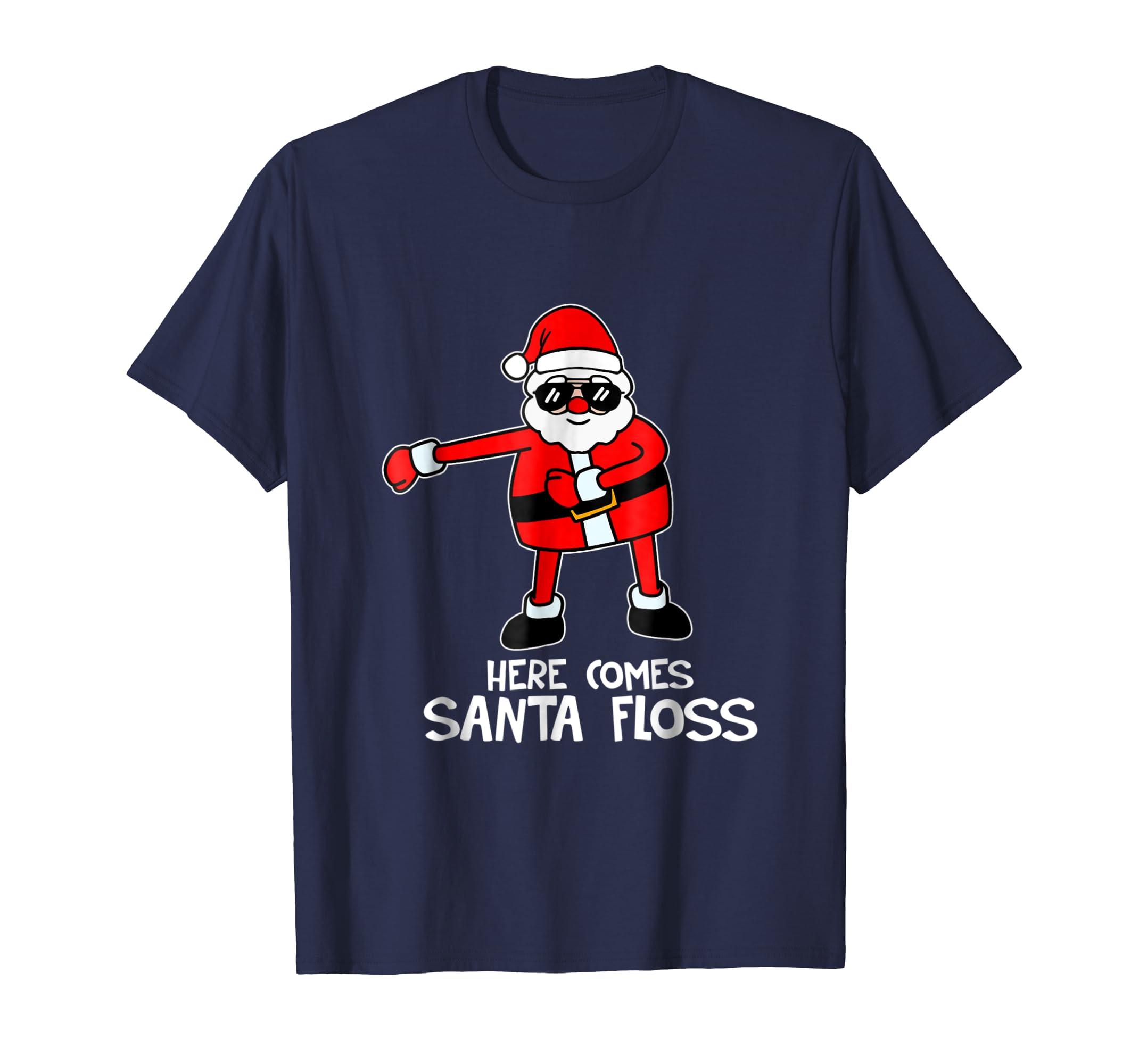 Here Comes Santa Floss Reindeer Christmas Tree T Shirt-azvn