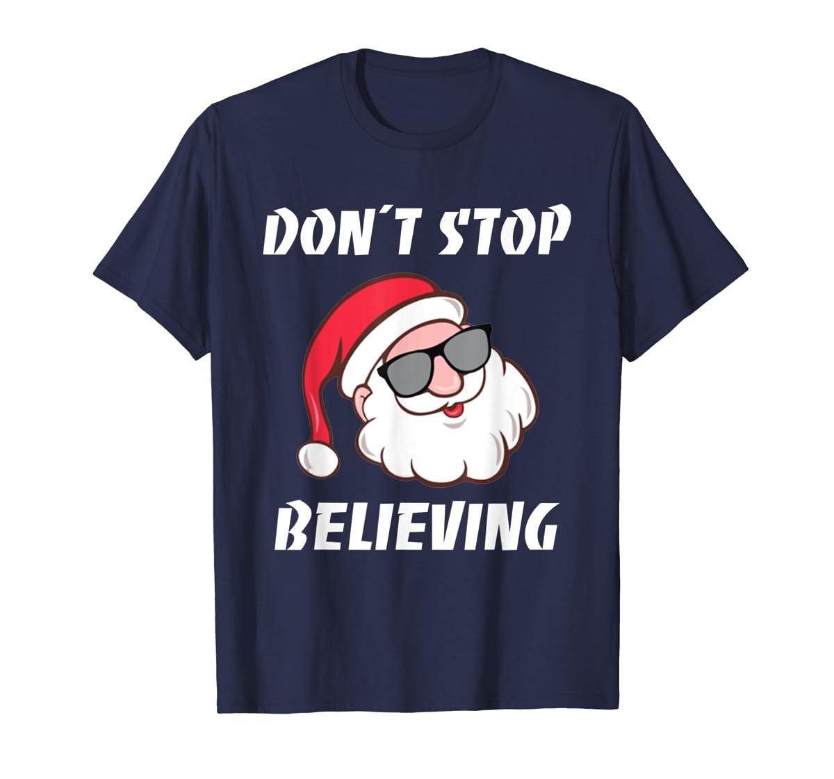 Don't Stop Believing Santa Claus Christmas T-Shirt-Men's T-Shirt-Navy