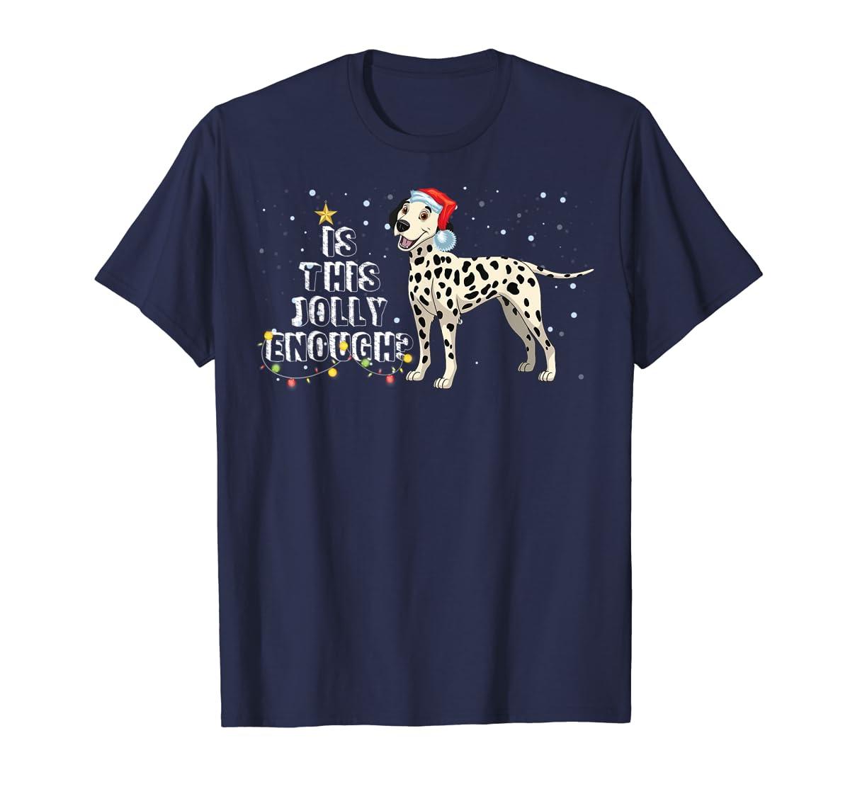 Dalmatian Santa Is This Jolly Enough Christmas Gifts T-Shirt-Men's T-Shirt-Navy