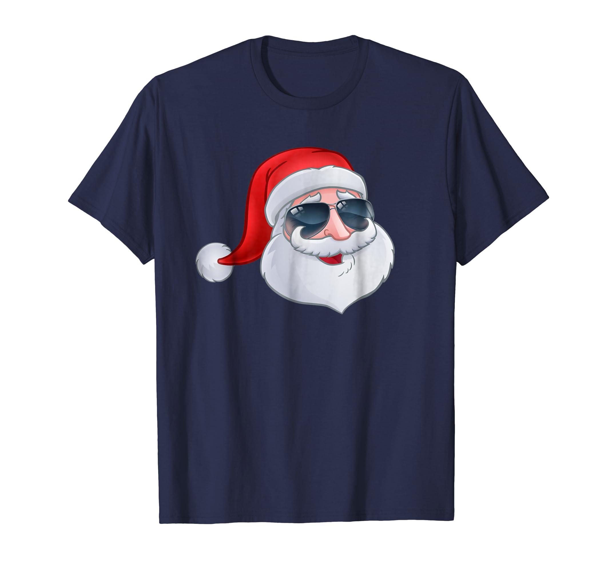 A fun kids Christmas T Shirt Cool Santa in Shades Sunglasses-azvn
