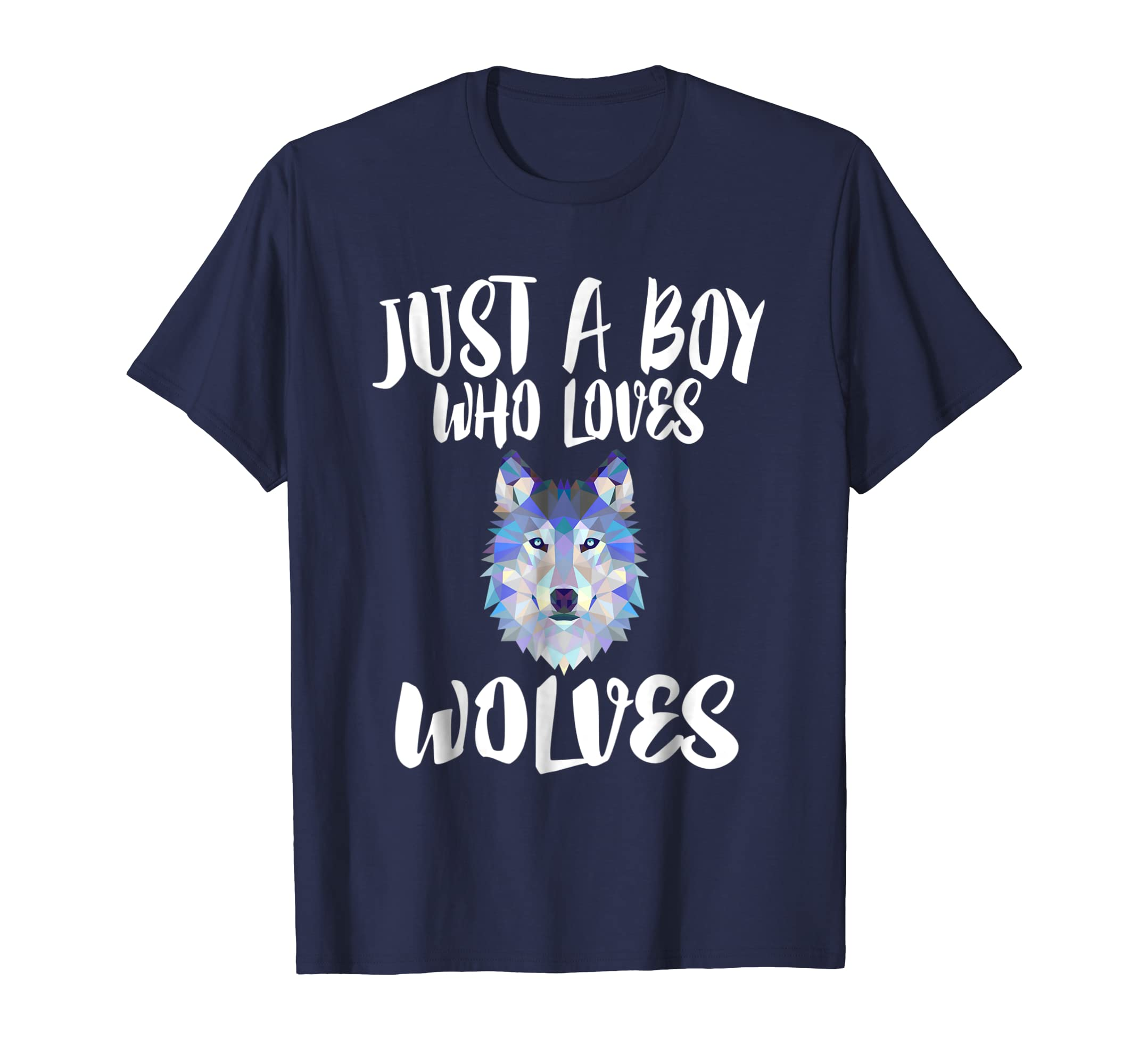 Just A Boy Who Loves Wolves Nature Lover Gift Wolf T Shirt-azvn