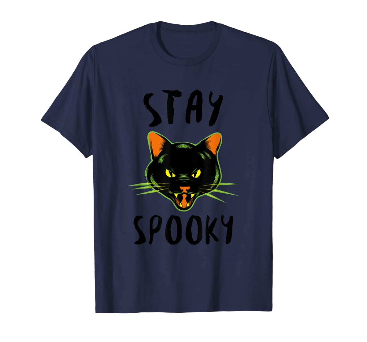 Stay Spooky | Scary Halloween Black Cat T-Shirt-Men's T-Shirt-Navy