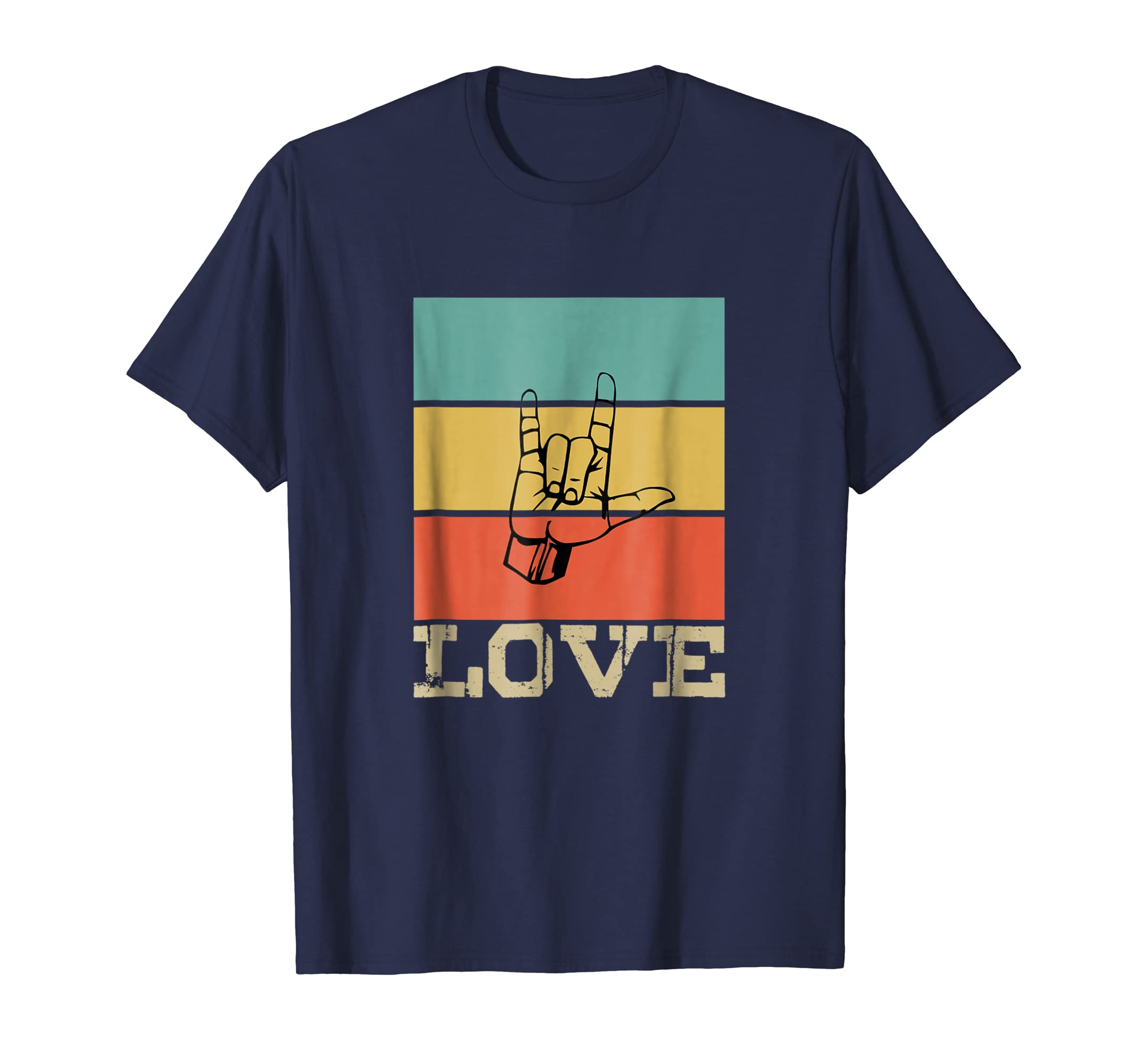 ASL love Vintage Retro T Shirt Gift for Men / Women /Kids-azvn