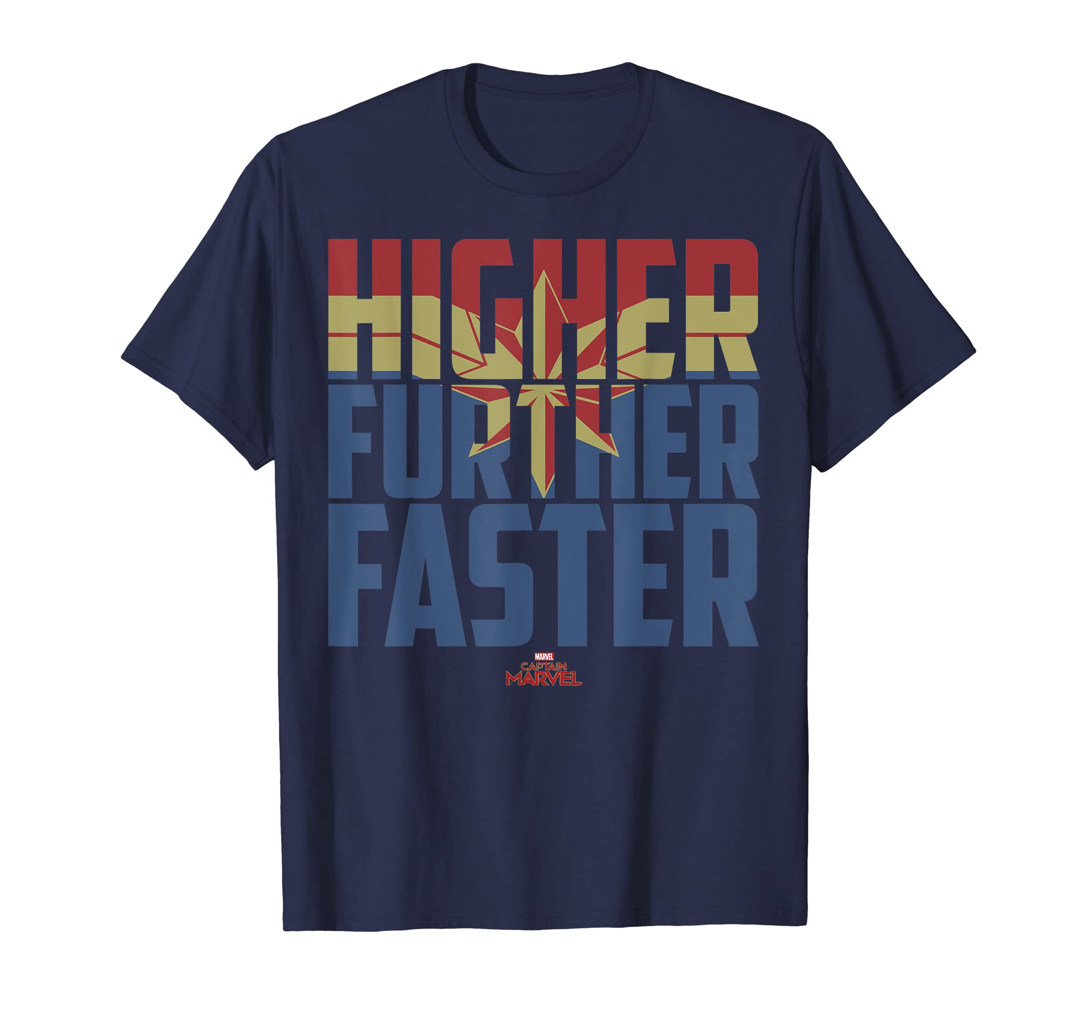d5c2e3e2ea1 Amazon.com  Captain Marvel Movie Higher Further Faster Graphic T-Shirt   Clothing