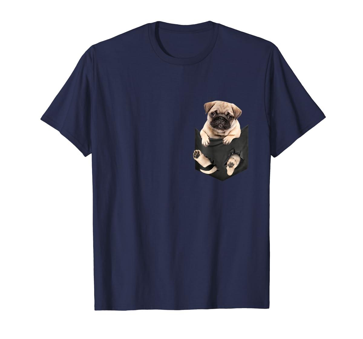 Dog in Your Pocket santa hat pug lover gift shirt-Men's T-Shirt-Navy