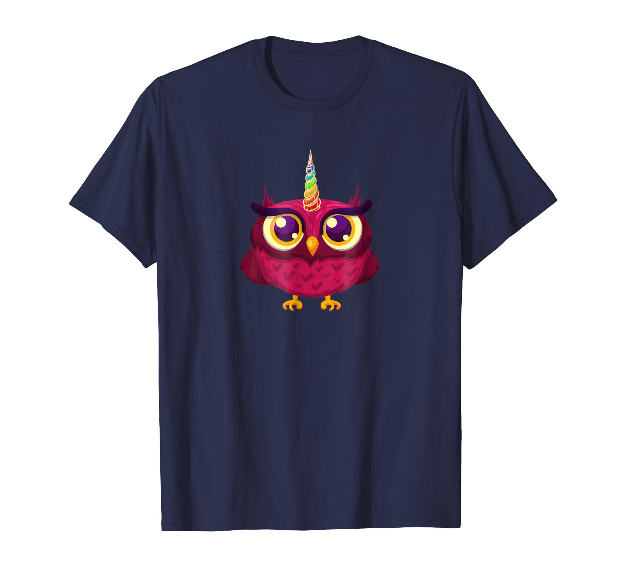Owl And Unicorn Gifts For Girls Women TShirt-mt