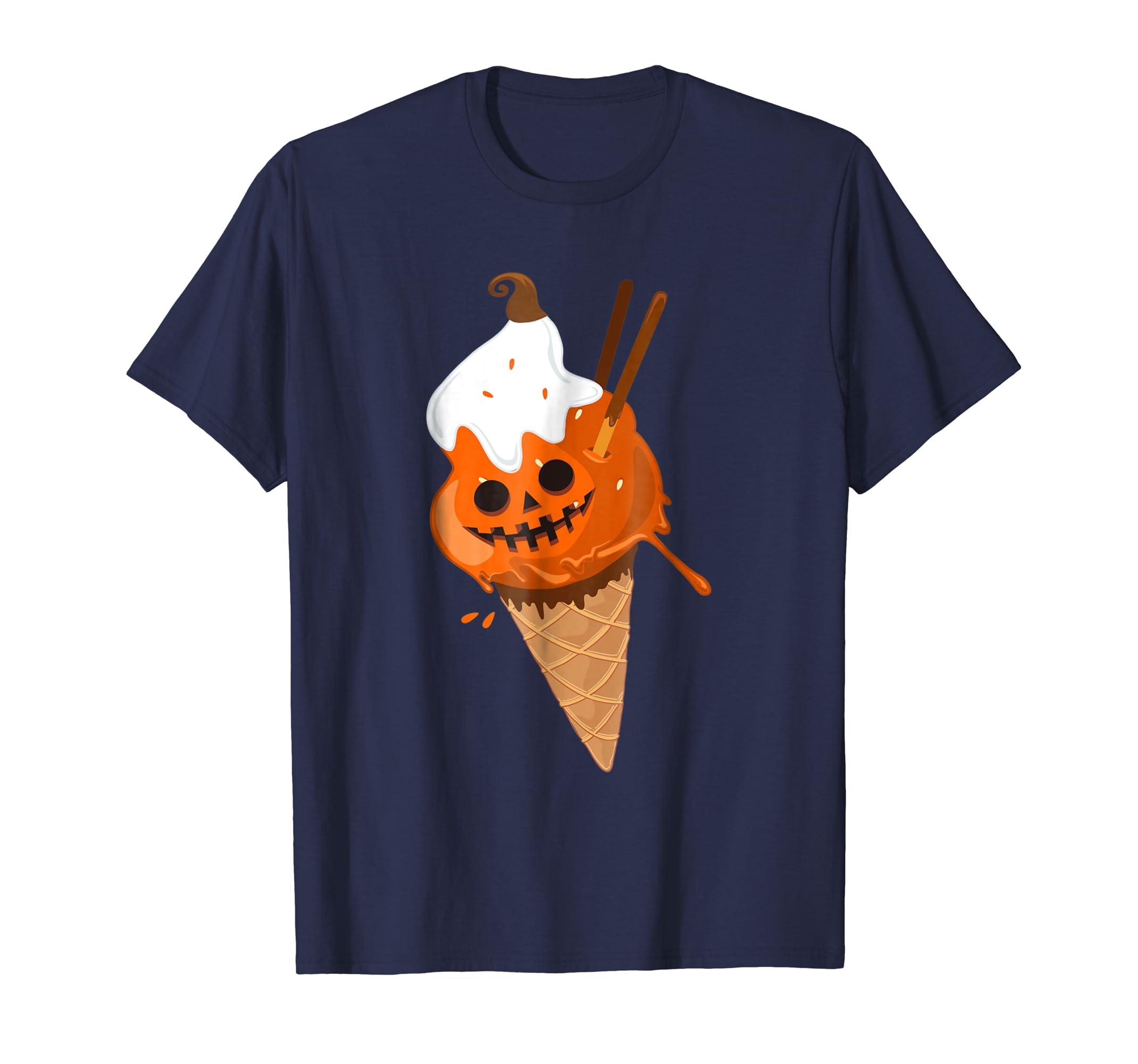 Pumpkin Ice Cream T-Shirt Jack O Lantern Smile-mt