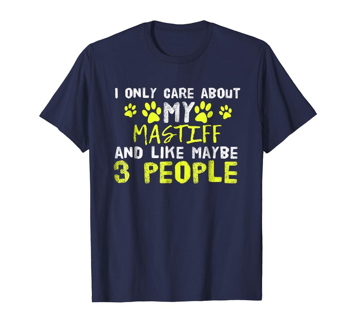 Mastiff Dog Shirt Introvert Love My Dog Tee-Men's T-Shirt-Navy