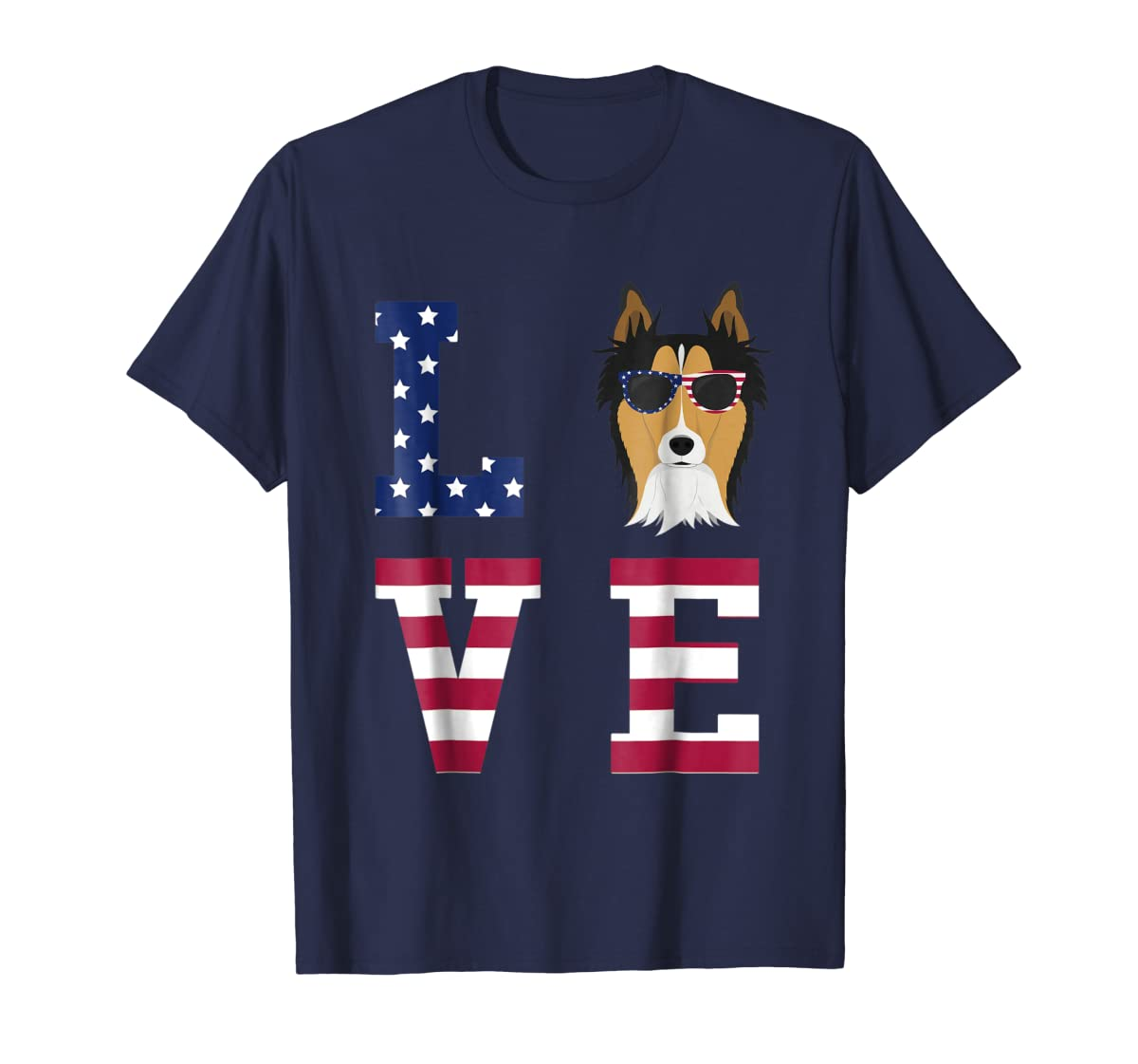 Collie Dog - 4th Of July T-Shirt-Men's T-Shirt-Navy