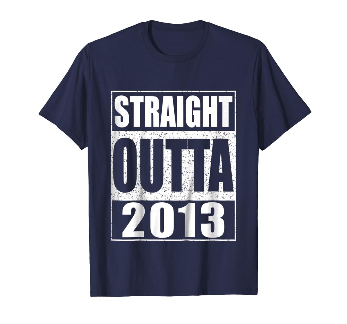 Kids Straight Outta 2013 T-Shirt 6th Birthday Gift Shirt-Men's T-Shirt-Navy
