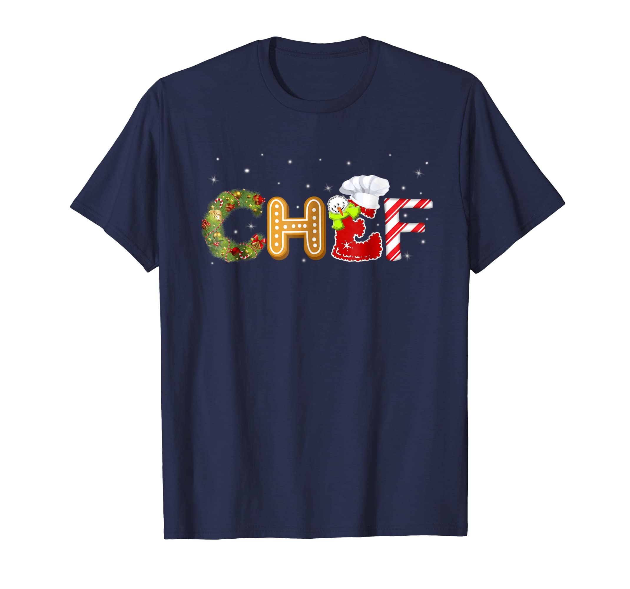 Chef Christmas Decorations Candy Cane T Shirt-azvn