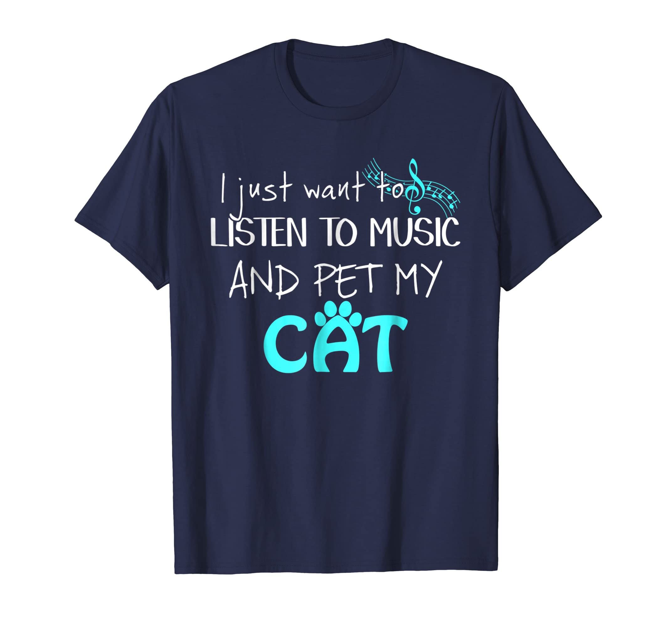 Listen to Music and Pet my Cat. Music and Pet Lover T-Shirt-AZP