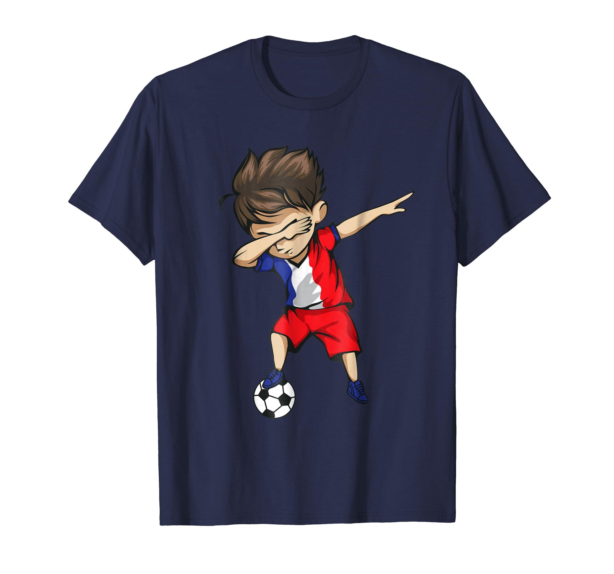 Dabbing Soccer Boy France Jersey Shirt - French Football- TPT
