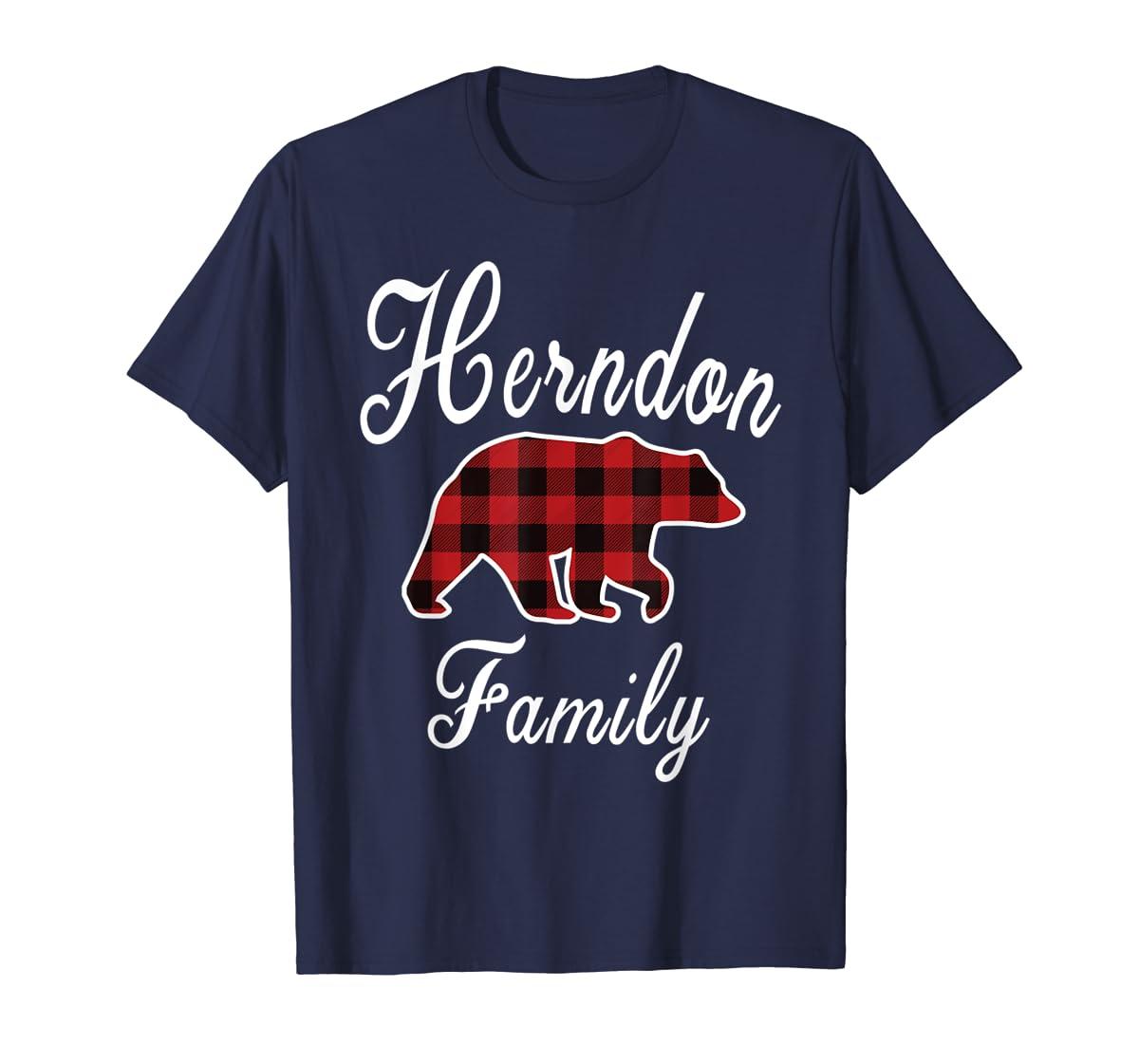 HERNDON Family Bear Red Plaid Christmas Pajama Gift T-Shirt-Men's T-Shirt-Navy