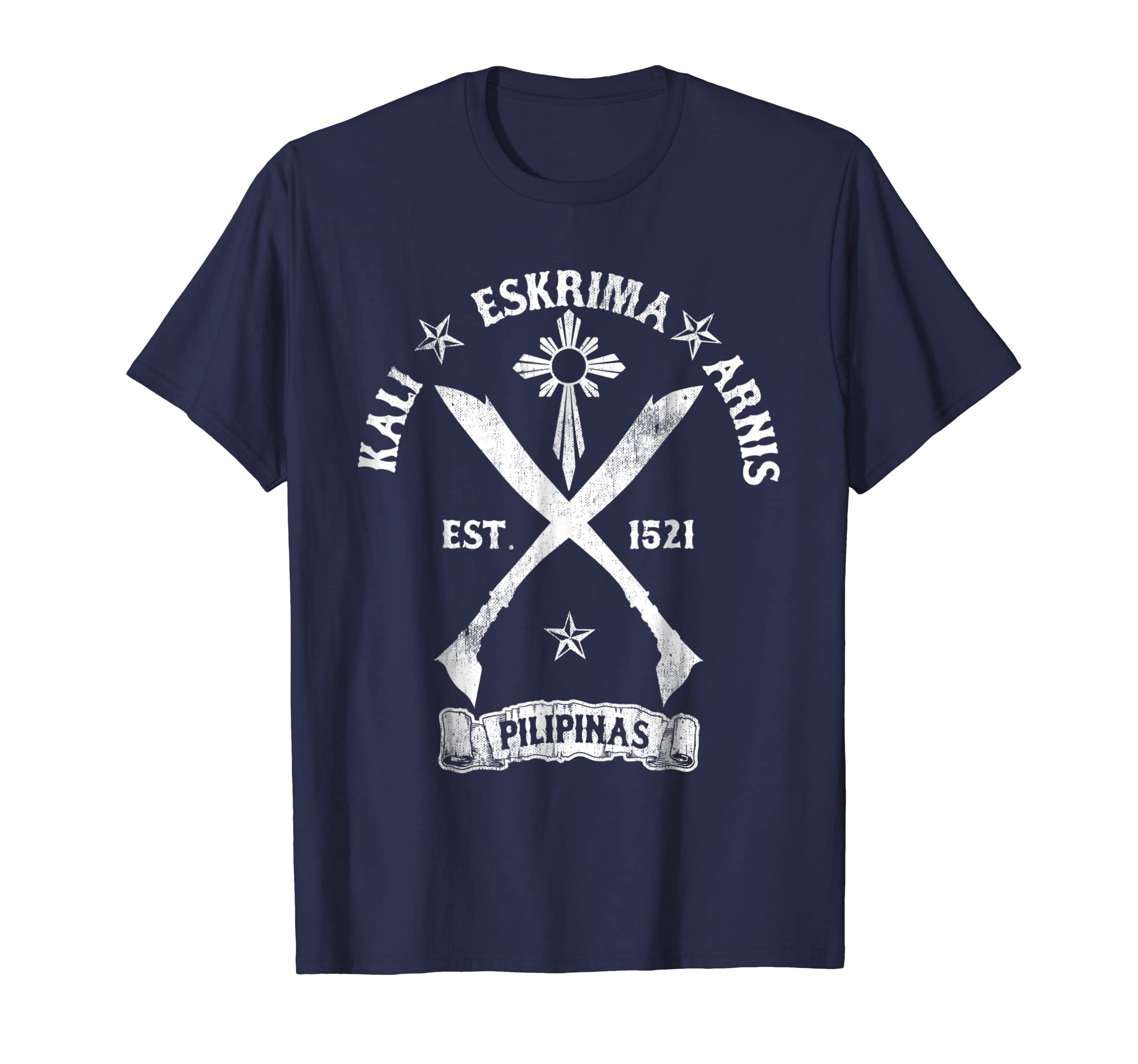 Cool Distressed Kali Arnis Eskrima T Shirt   Cross Sword Tee-azvn