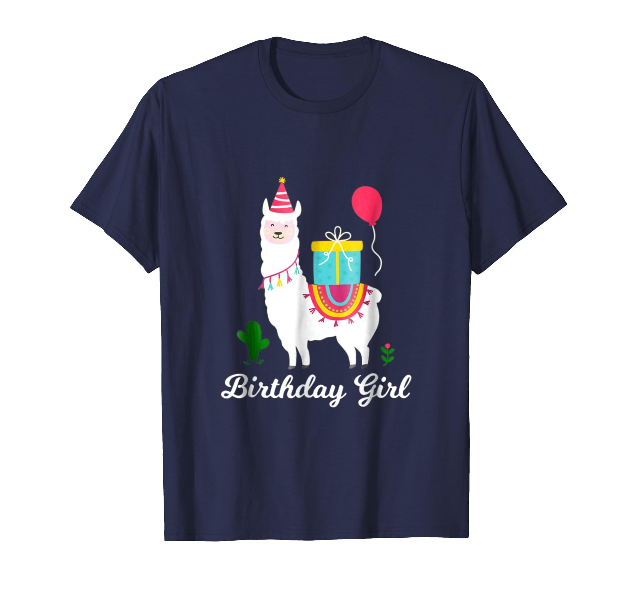 Birthday Girl Llama Alpaca Party T Shirt-ln