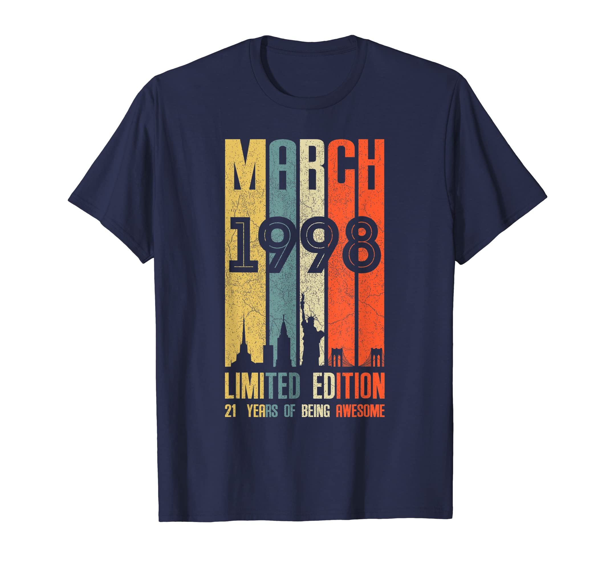 Amazon March 1998 T Shirt 21 Year Old Birthday Gift Clothing