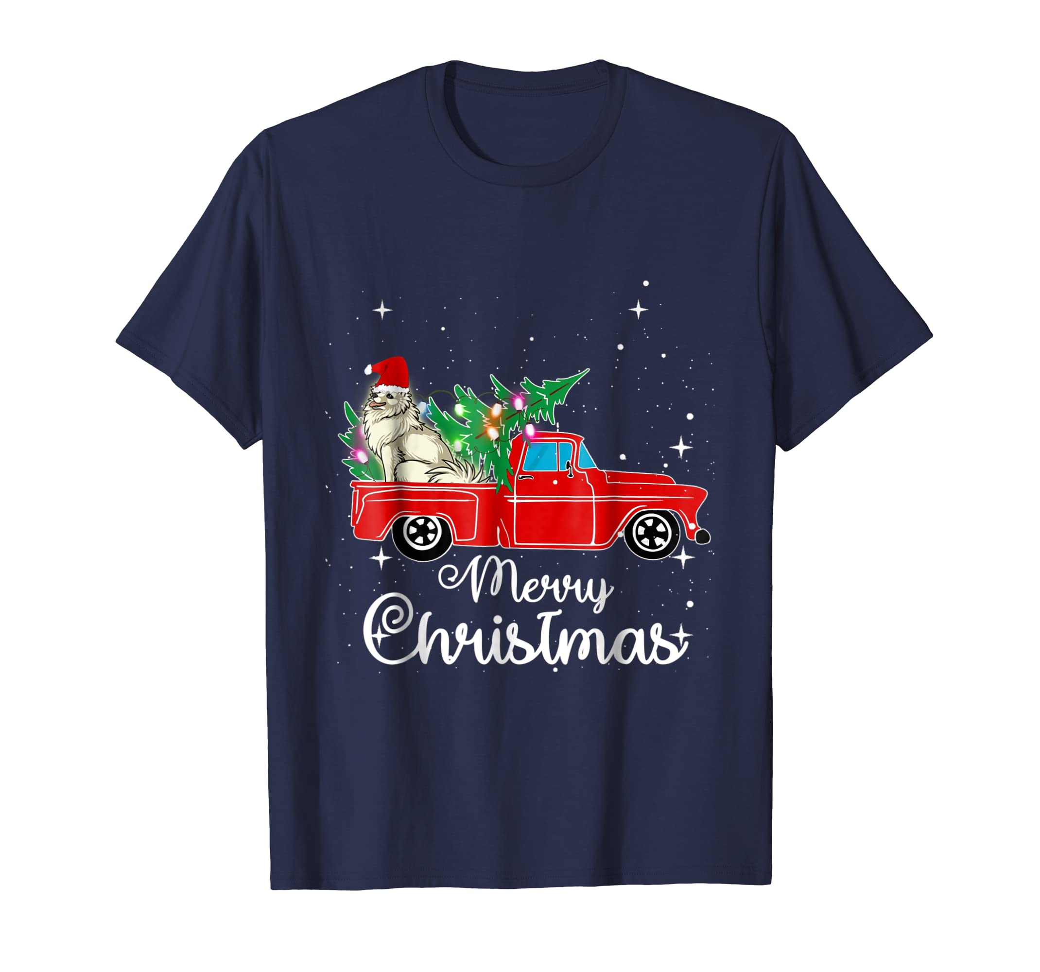 American Eskimo Dog Rides Red Truck Christmas Pajama Shirt-azvn