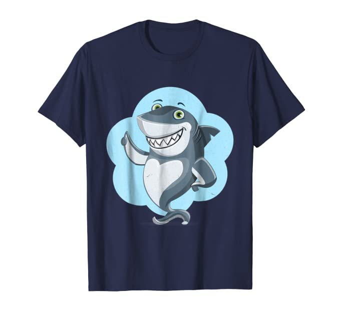 Funny Thumbs Up Smiling Shark Cartoon Graphic Tee Shirt