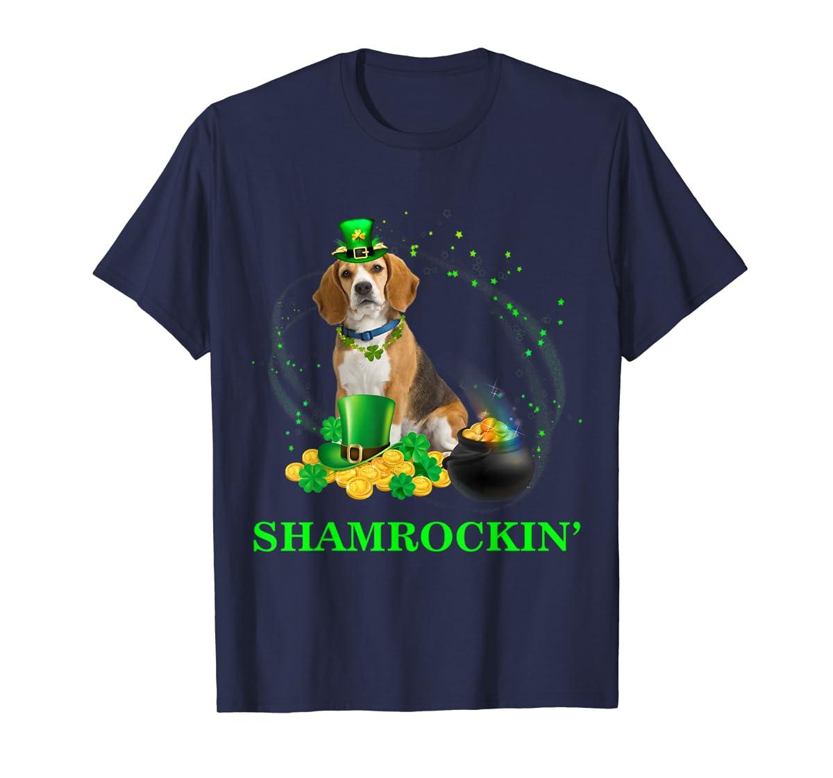 Shamrockin' Beagle St Patricks Day Tshirt Dog Gifts-Men's T-Shirt-Navy