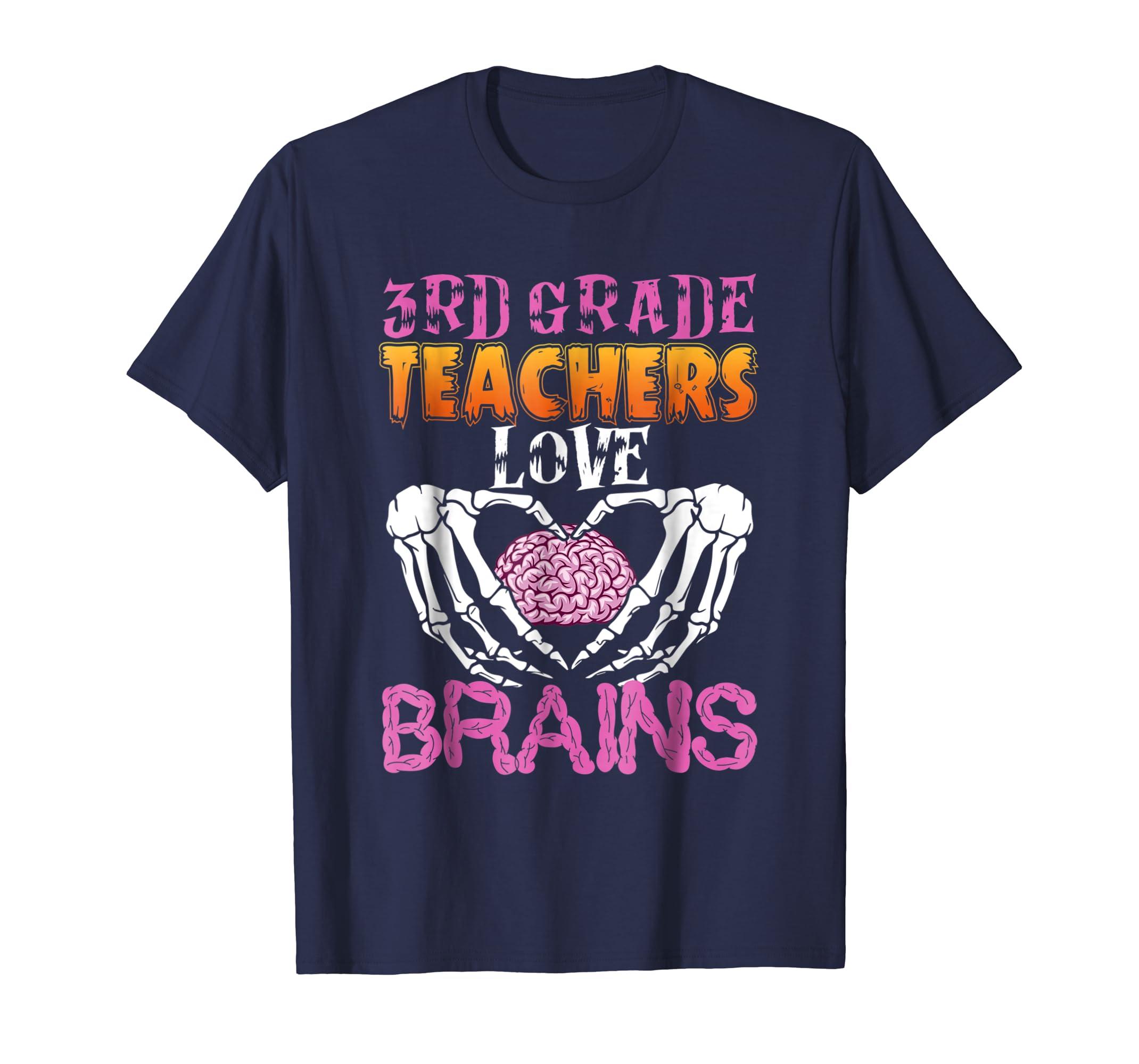 3rd Grade Teacher Love Brains T Shirt Funny Halloween Shirt-ln
