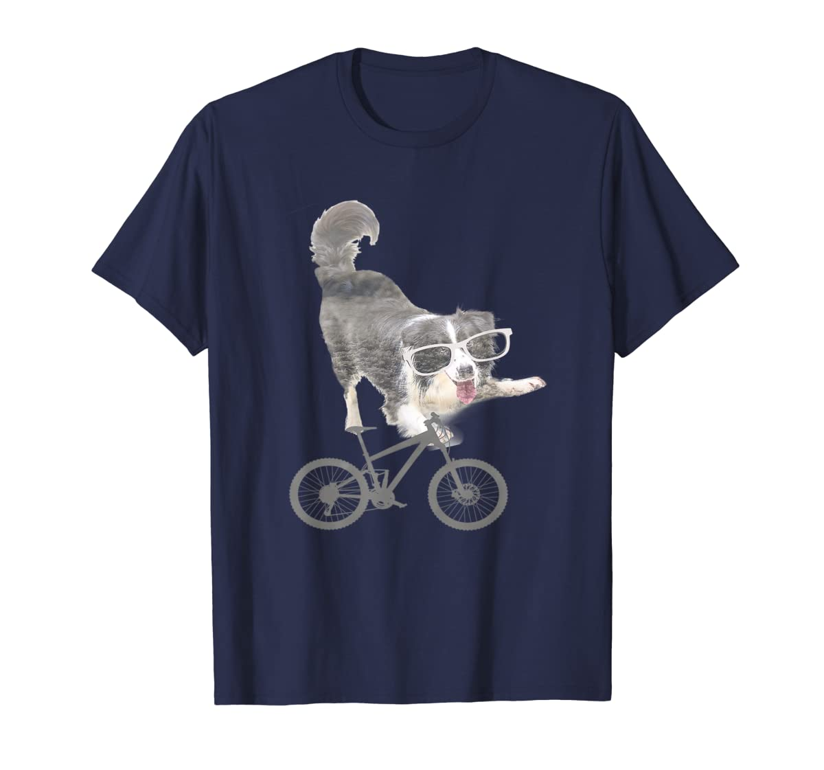 Border collie on a Bicycle T-shirt-Men's T-Shirt-Navy