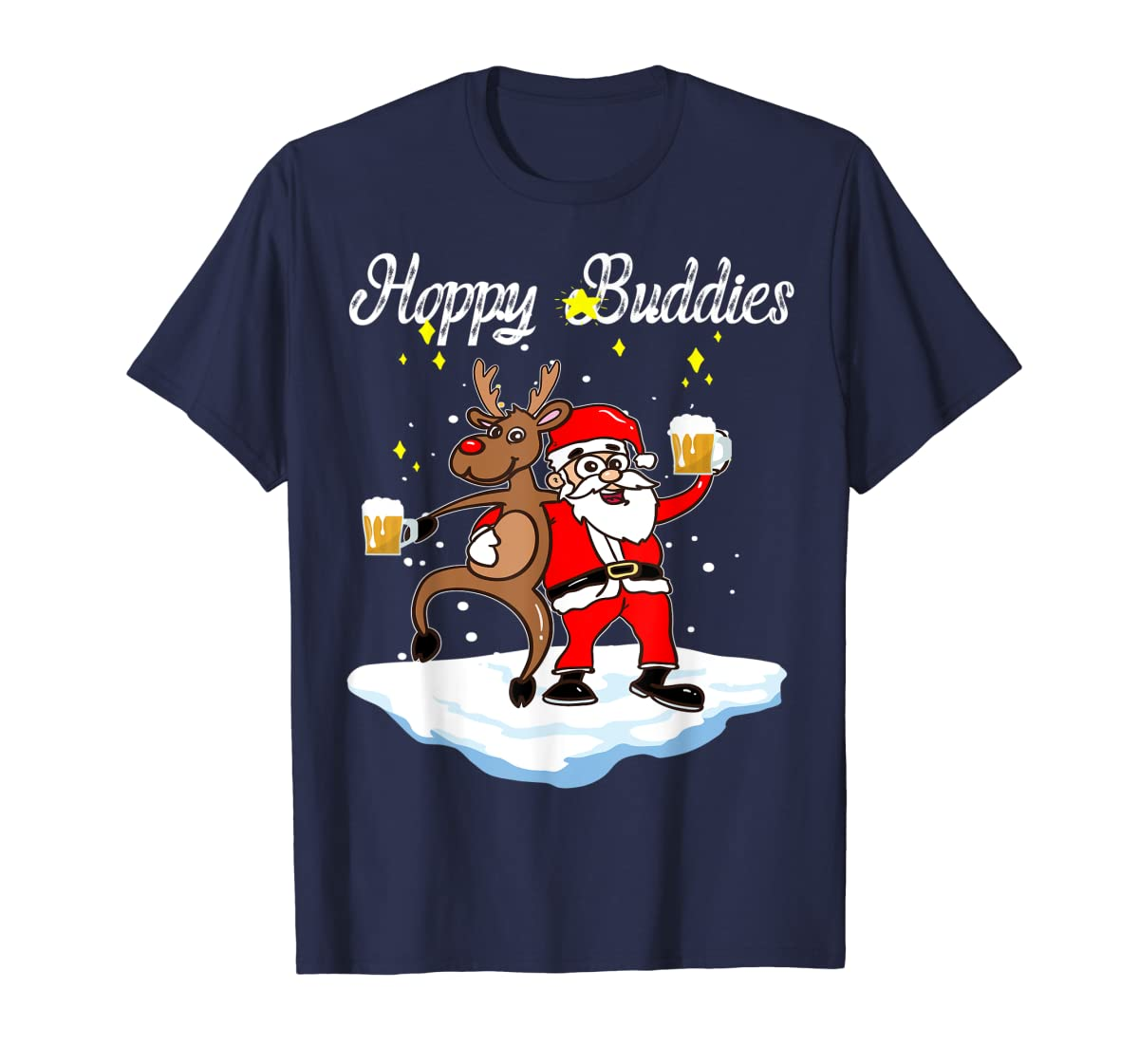 Santa Dancing Reindeer Beer Drinking T-Shirt Christmas Party T-Shirt-Men's T-Shirt-Navy