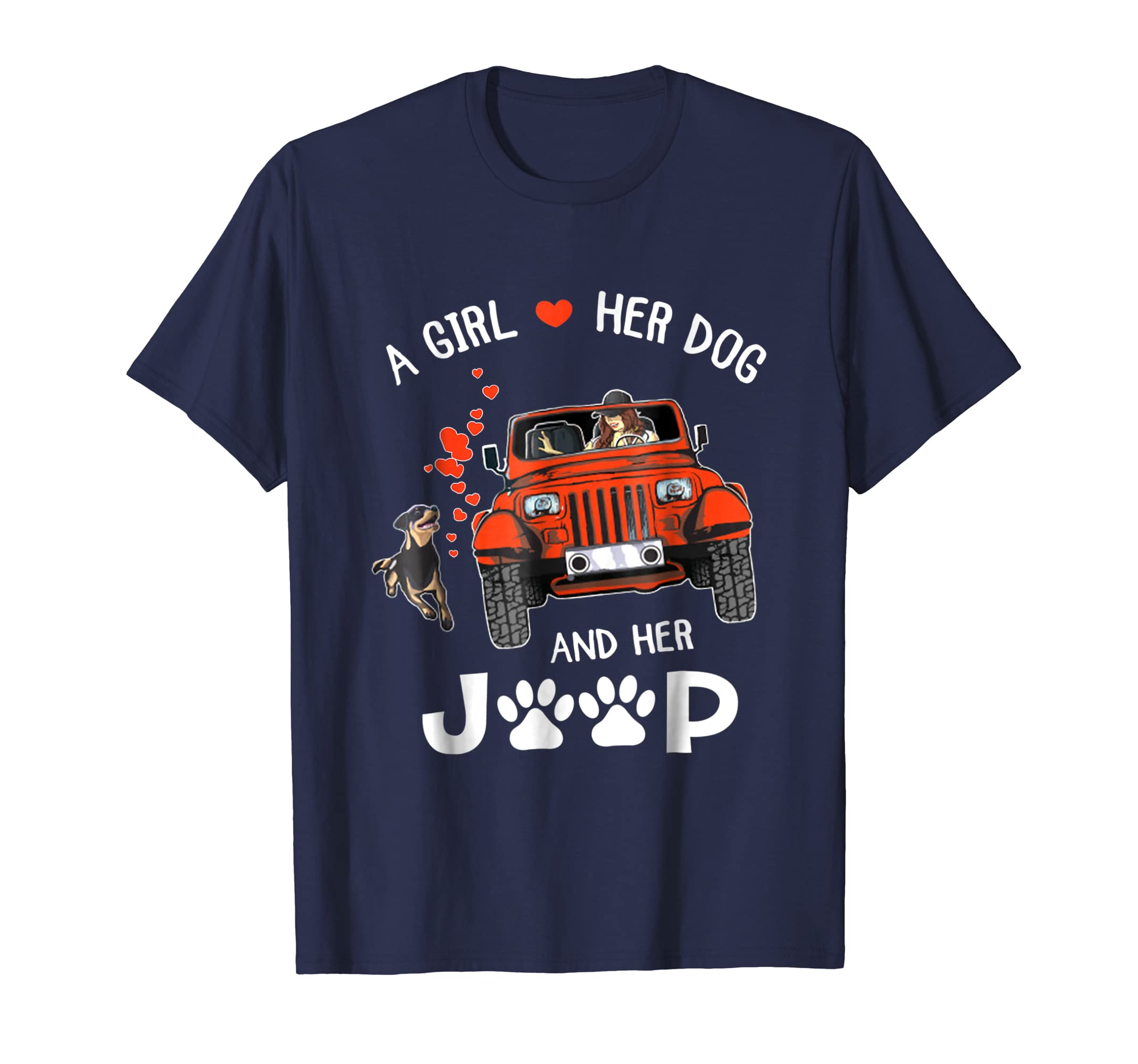 A girl a dog and her jeep dog mom funny gift shirt-ln