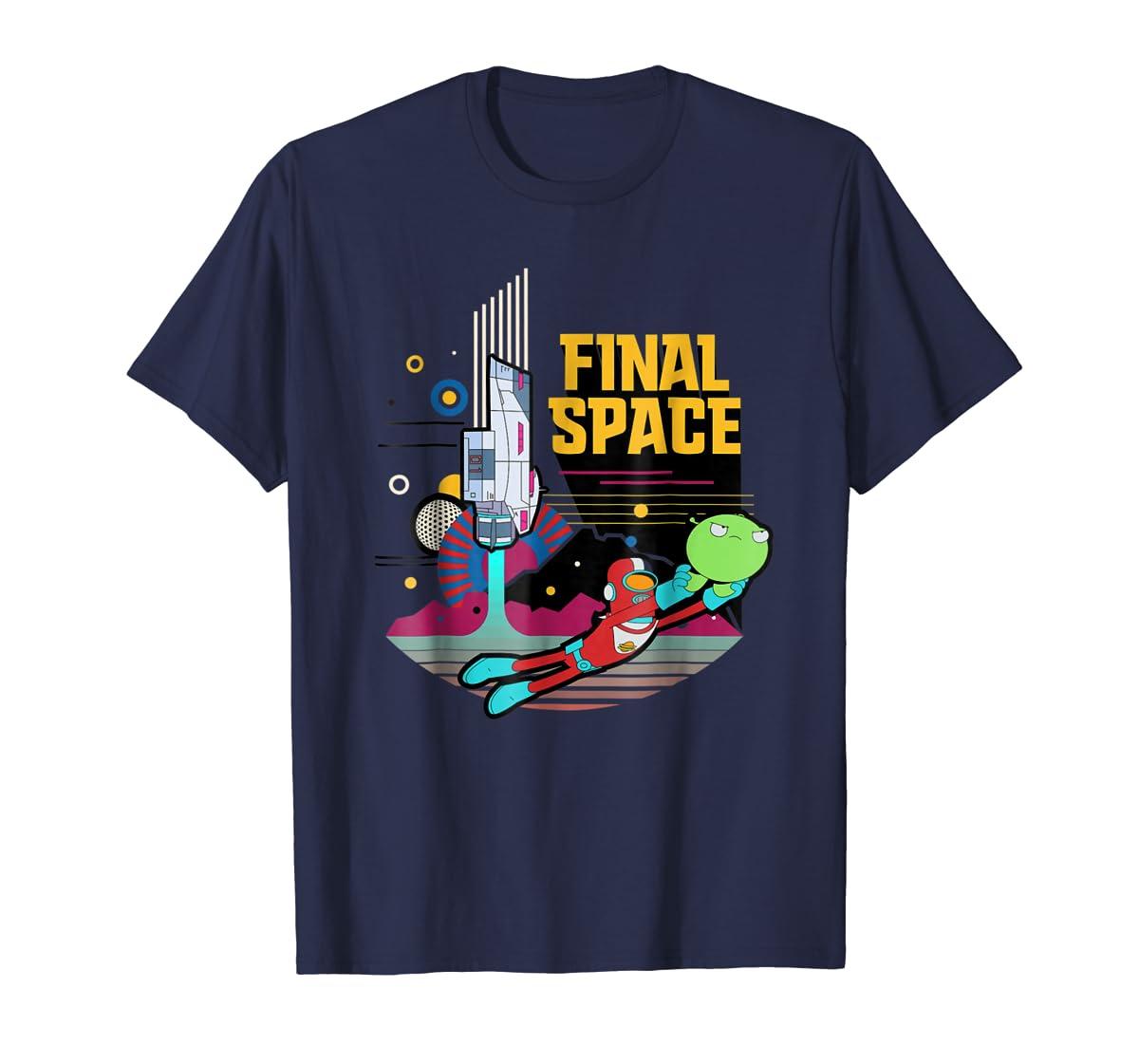 Final Space Retro Style T-shirt-Men's T-Shirt-Navy
