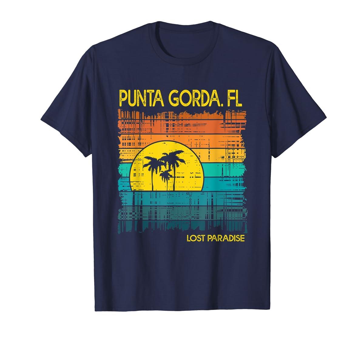 Punta Gorda Beach Florida Shirt Sunset-Men's T-Shirt-Navy