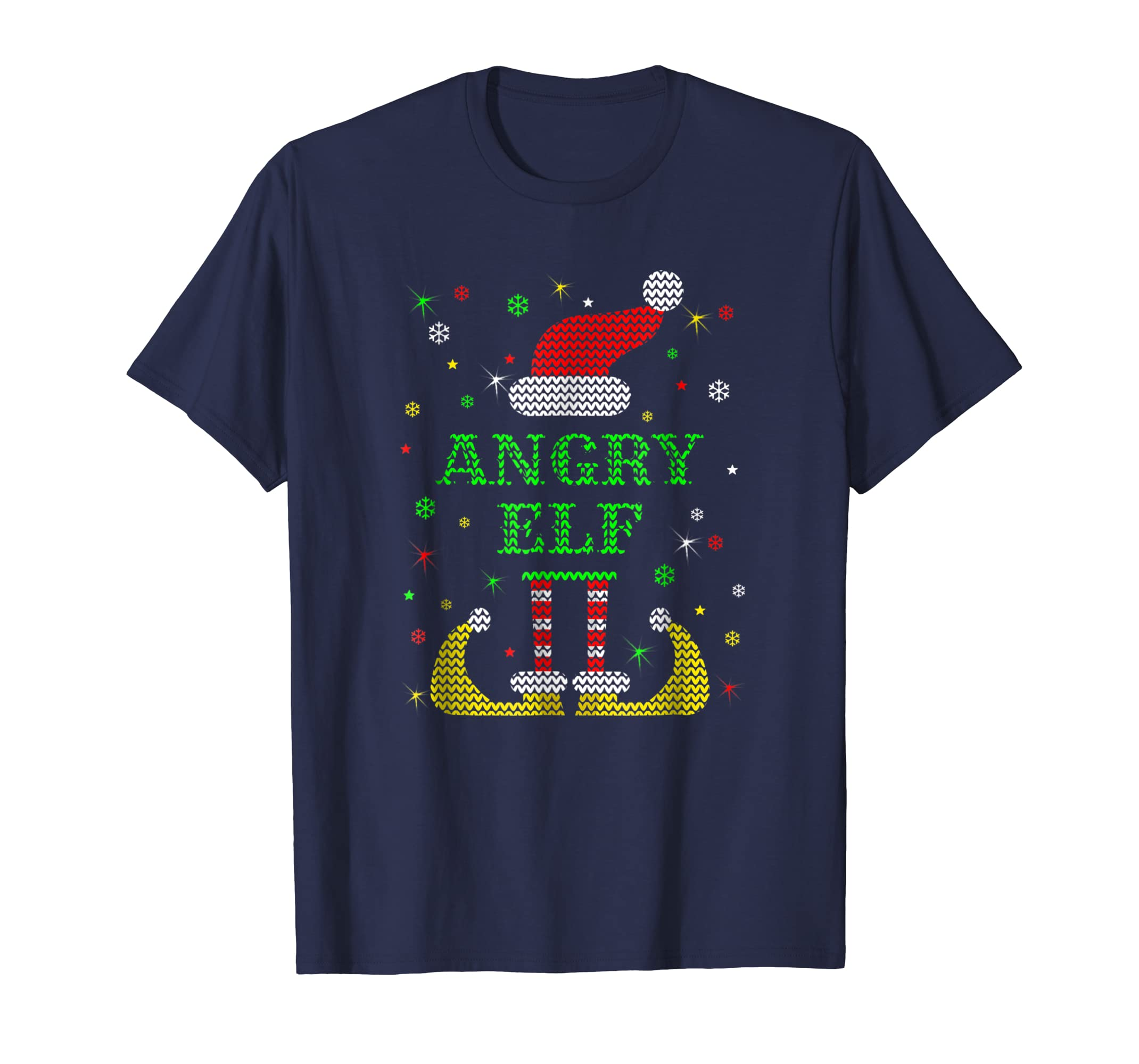 Angry Elf Tshirt in Ugly Christmas Style-azvn