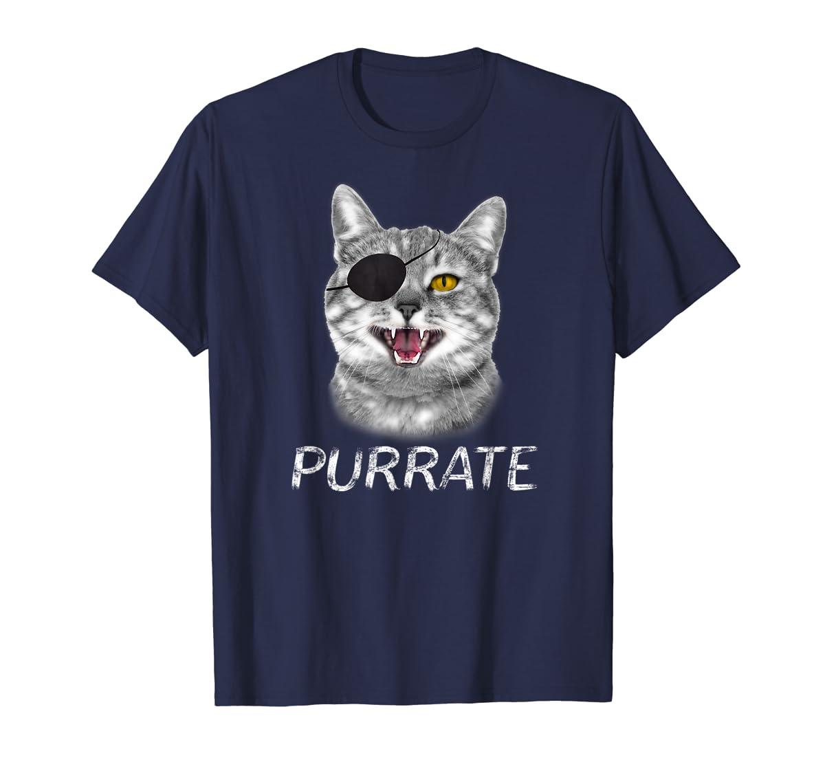 Halloween Trick Treat Cat Pirate Purrate T-Shirt-Men's T-Shirt-Navy
